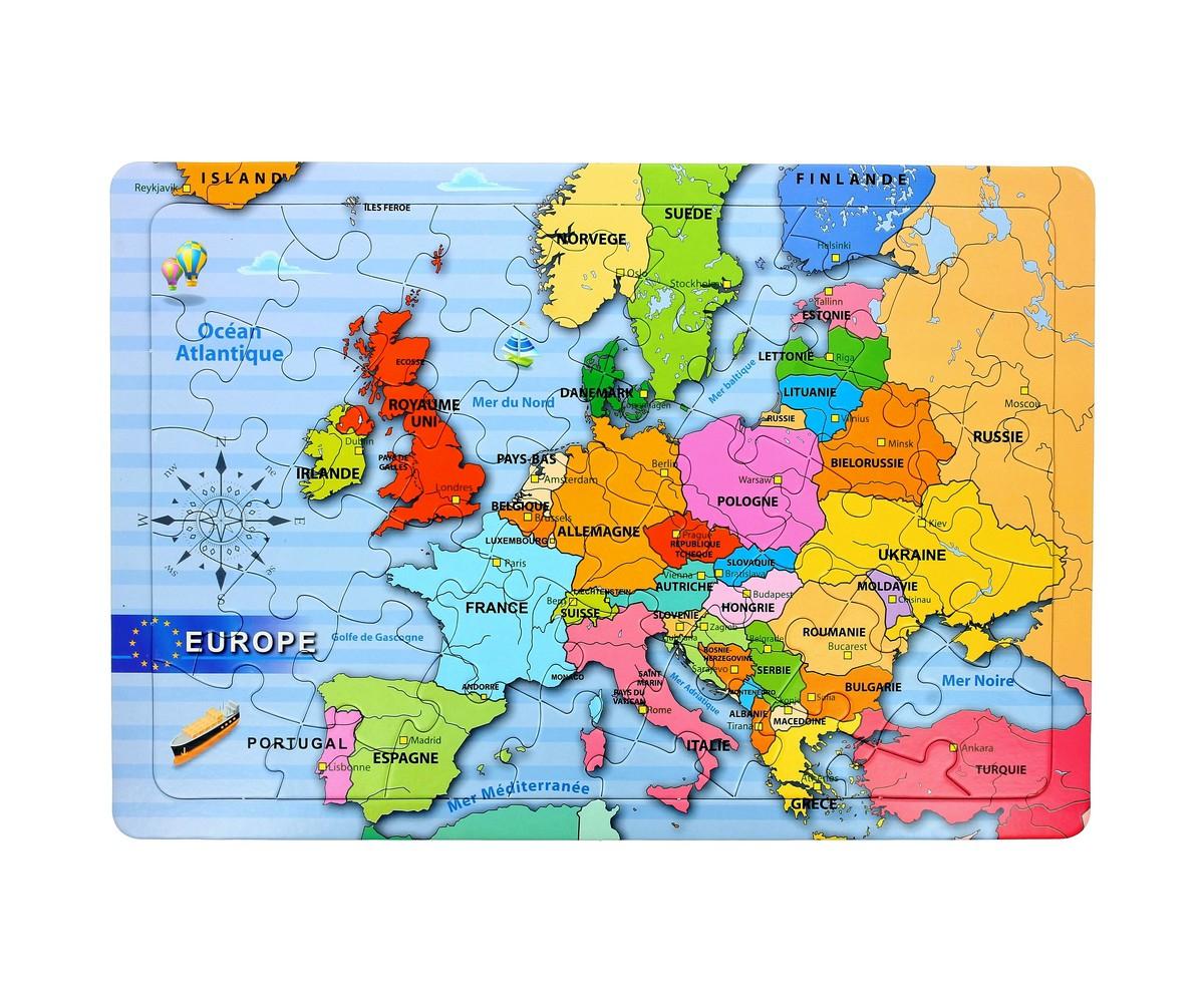 Puzzle Carte De L'europe Avec Pays Jouet Enfant Ludique destiné Carte Europe Enfant
