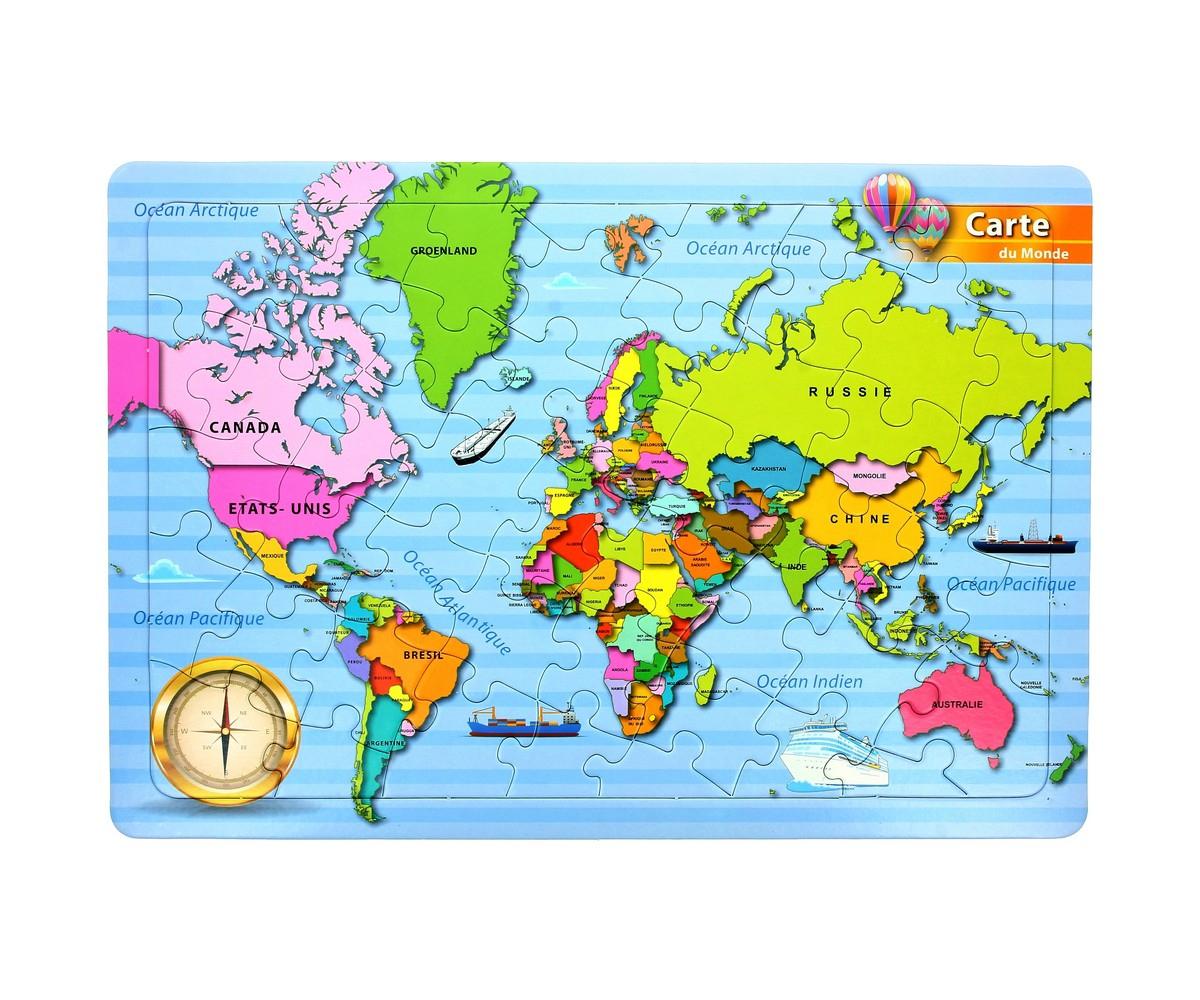 Puzzle Carte Du Monde Avec Pays Jouet Enfant Ludique destiné Carte Du Monde Enfant