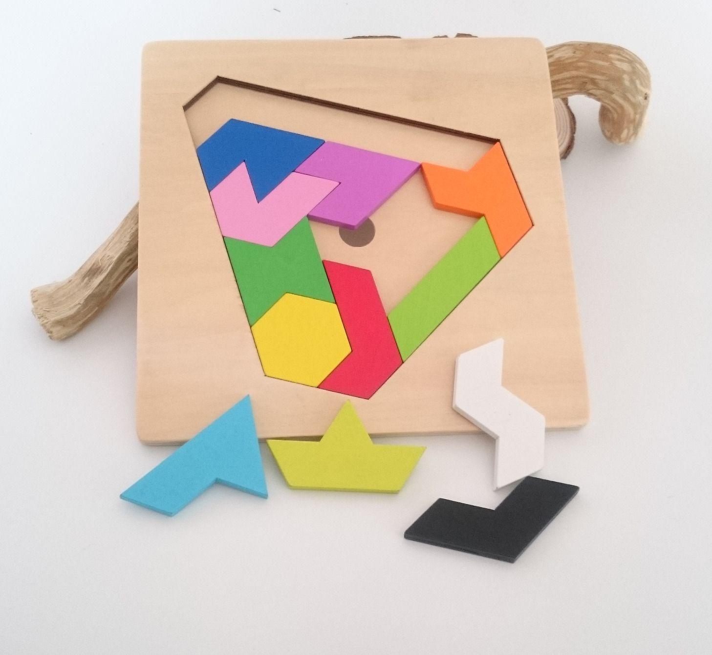Puzzle, Casse Tête Forme Géométrique En Bois, Peint À La à Jeu De Forme Géométrique