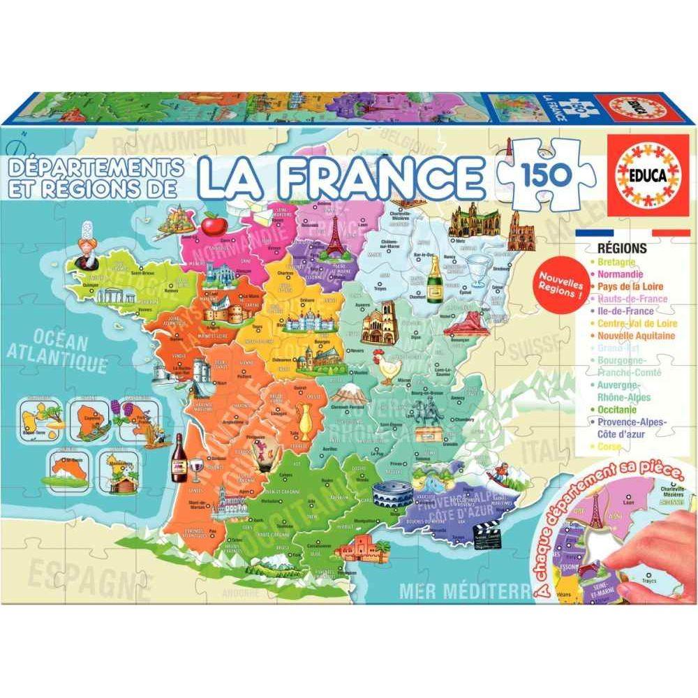 Puzzle De 150 Pièces - Départements Et Régions De France dedans Départements Et Régions De France