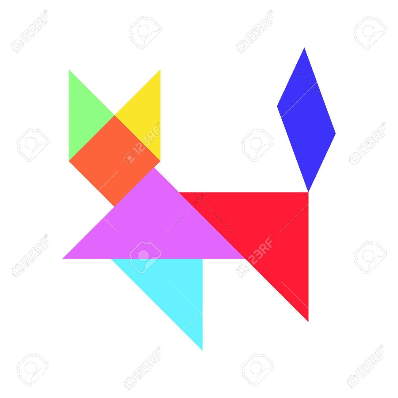 Puzzle De Tangram Coloré En Forme De Chat (Vecteur) intérieur Tangram Chat