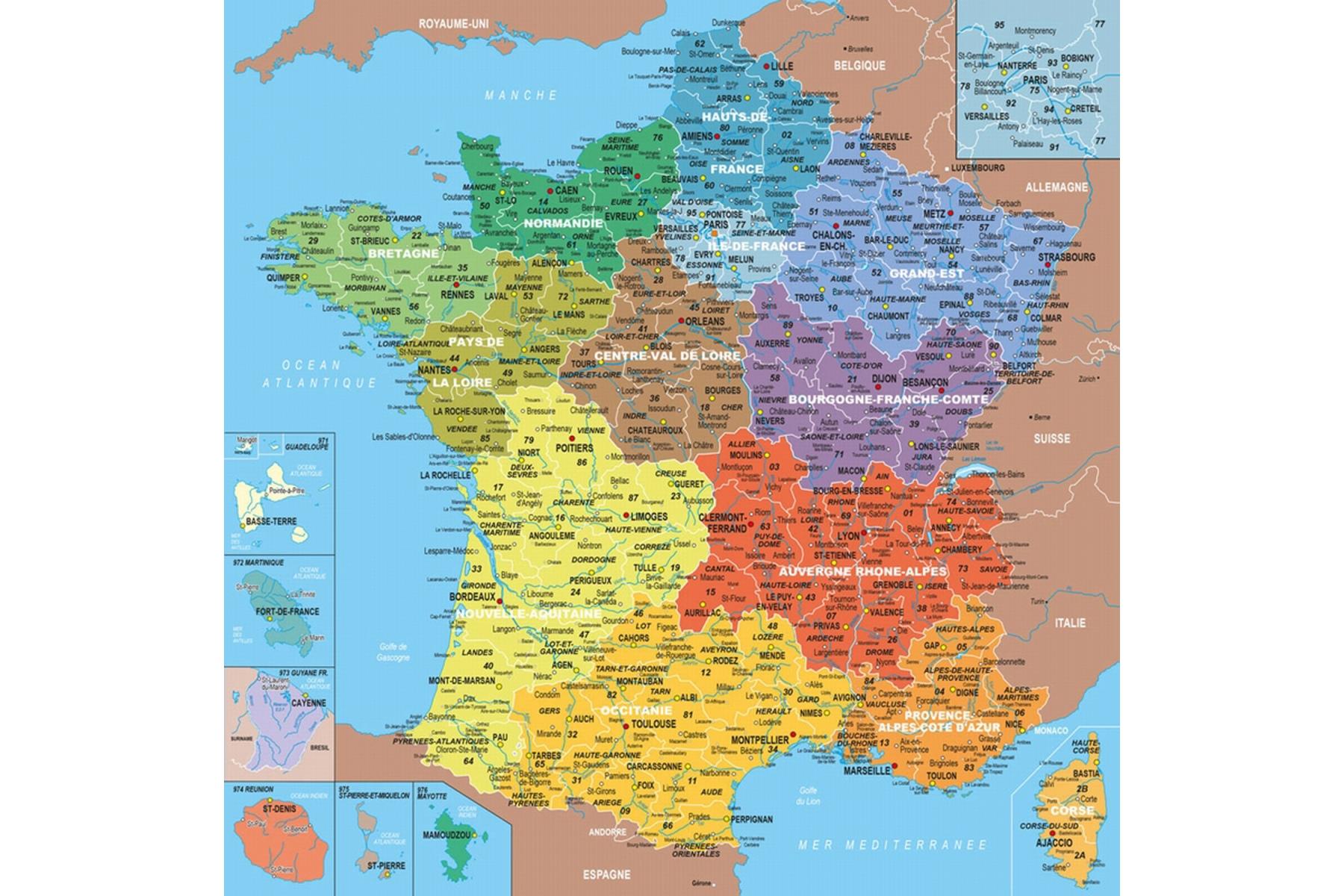 Puzzle En Bois Carte De France Des Départements - Puzzle 100 concernant Carte De France Nouvelles Régions