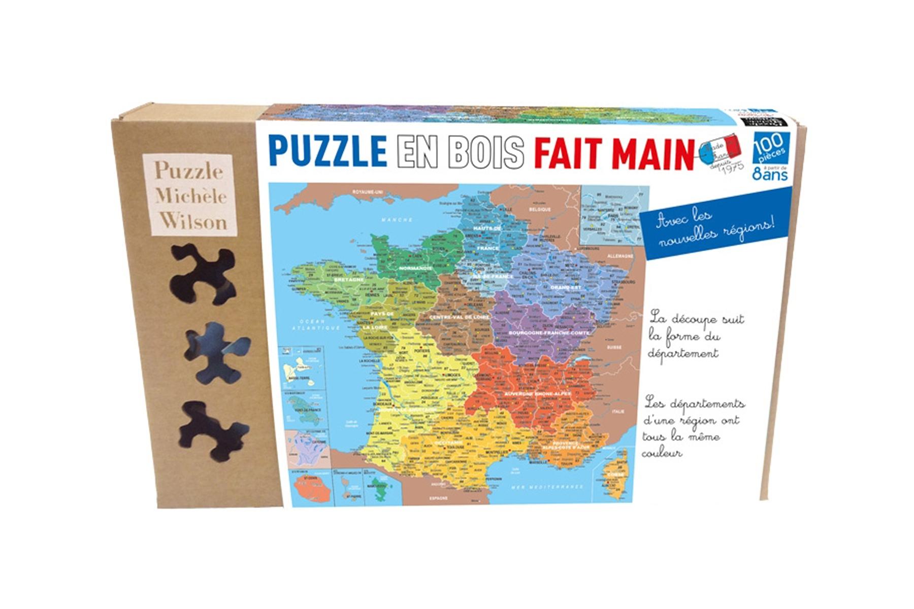 Puzzle En Bois Carte De France Des Départements - Puzzle 100 concernant Jeux Des Départements Français