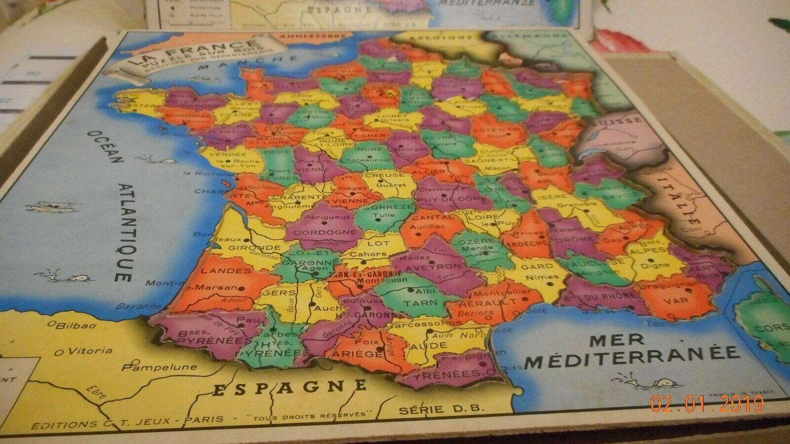 Puzzle En Bois Représentant La France, Ses Départements Et à Anciennes Régions