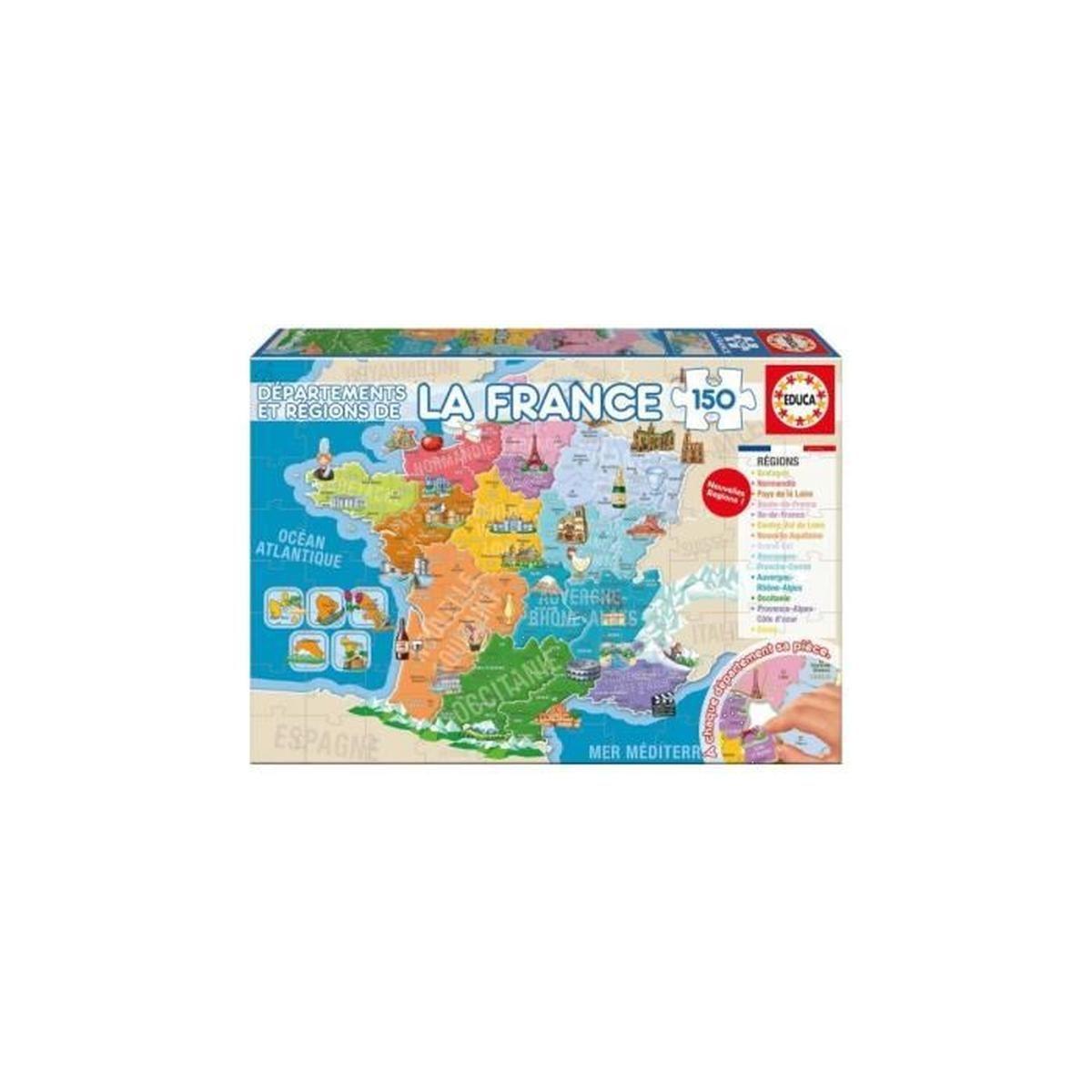 Puzzle Enfant - Carte De France : Les Departements Et Regions - 150 Pieces  - Jeu Educatifs avec Jeu Carte De France