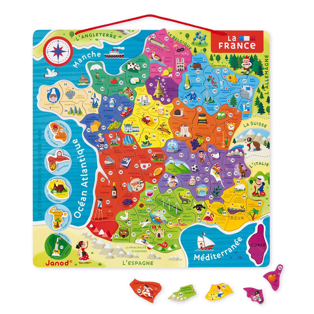 Puzzle France Magnétique 93 Pcs (Bois) - Nouvelles Régions 2016 à Carte Numero Departement