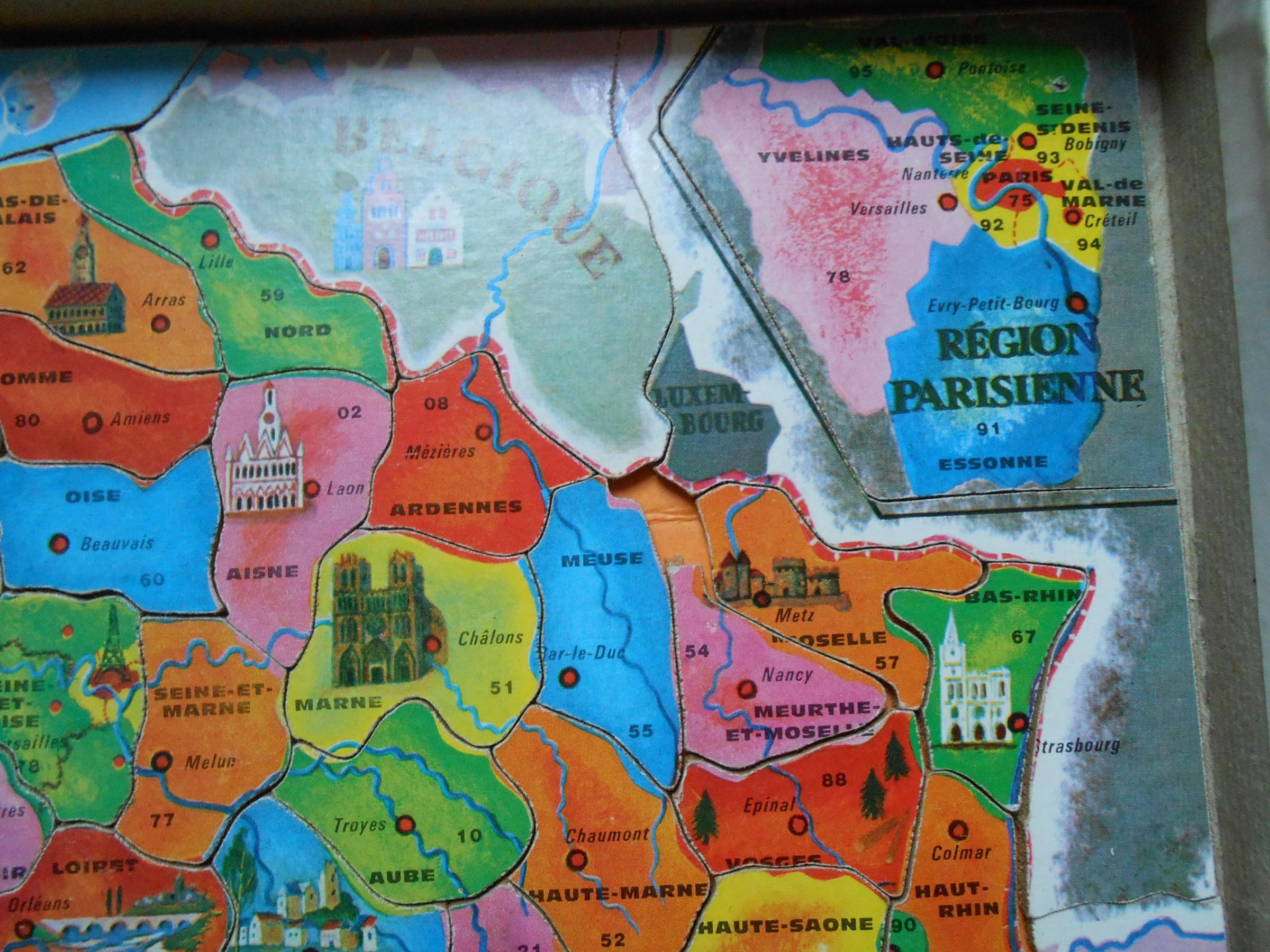 Puzzle, France Puzzle, De Fernand Nathan, Réf F.n 575-399 encequiconcerne Puzzle Des Départements Français