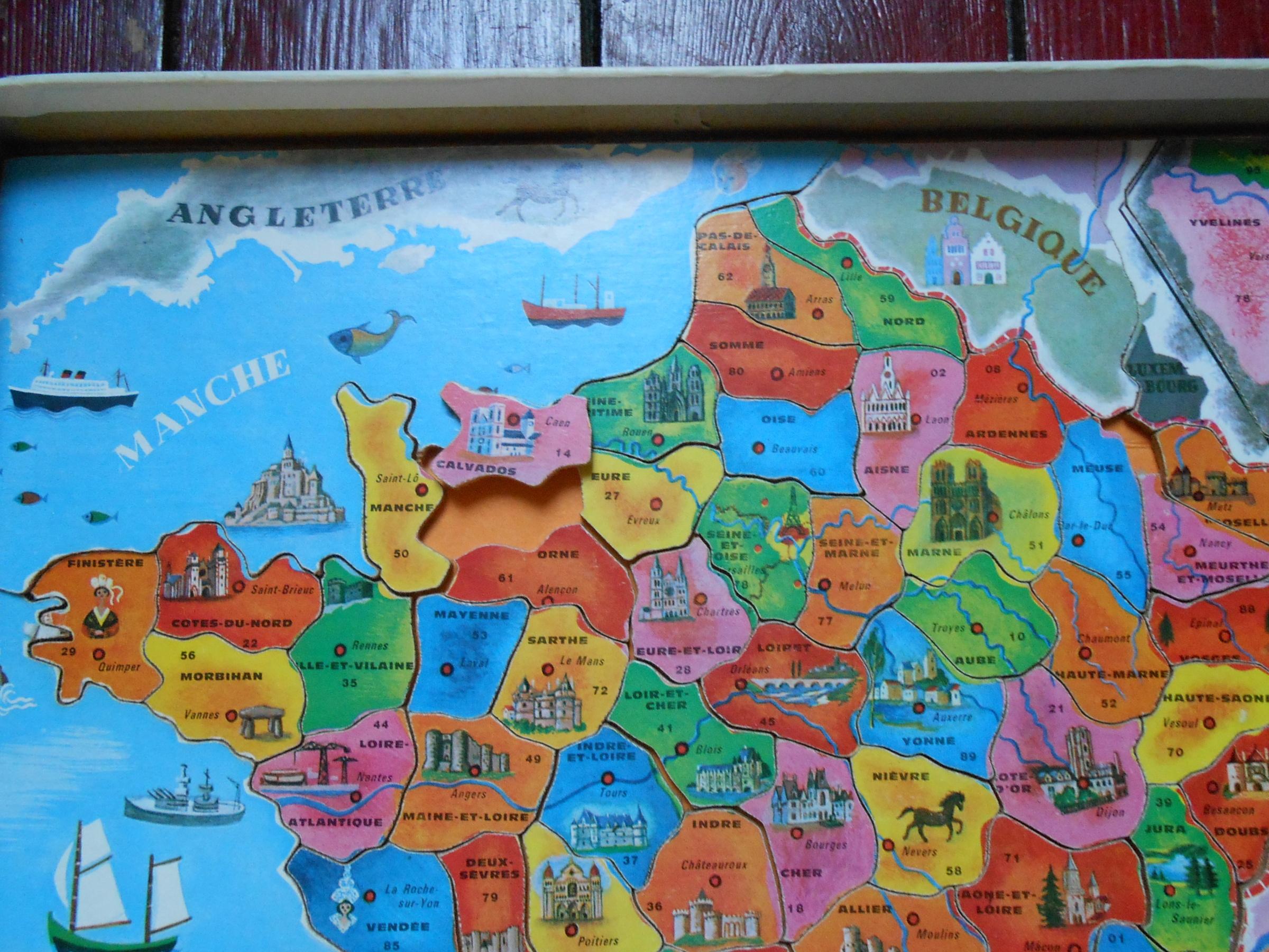 Puzzle, France Puzzle, De Fernand Nathan, Réf F.n 575-399 serapportantà Puzzle Des Départements Français