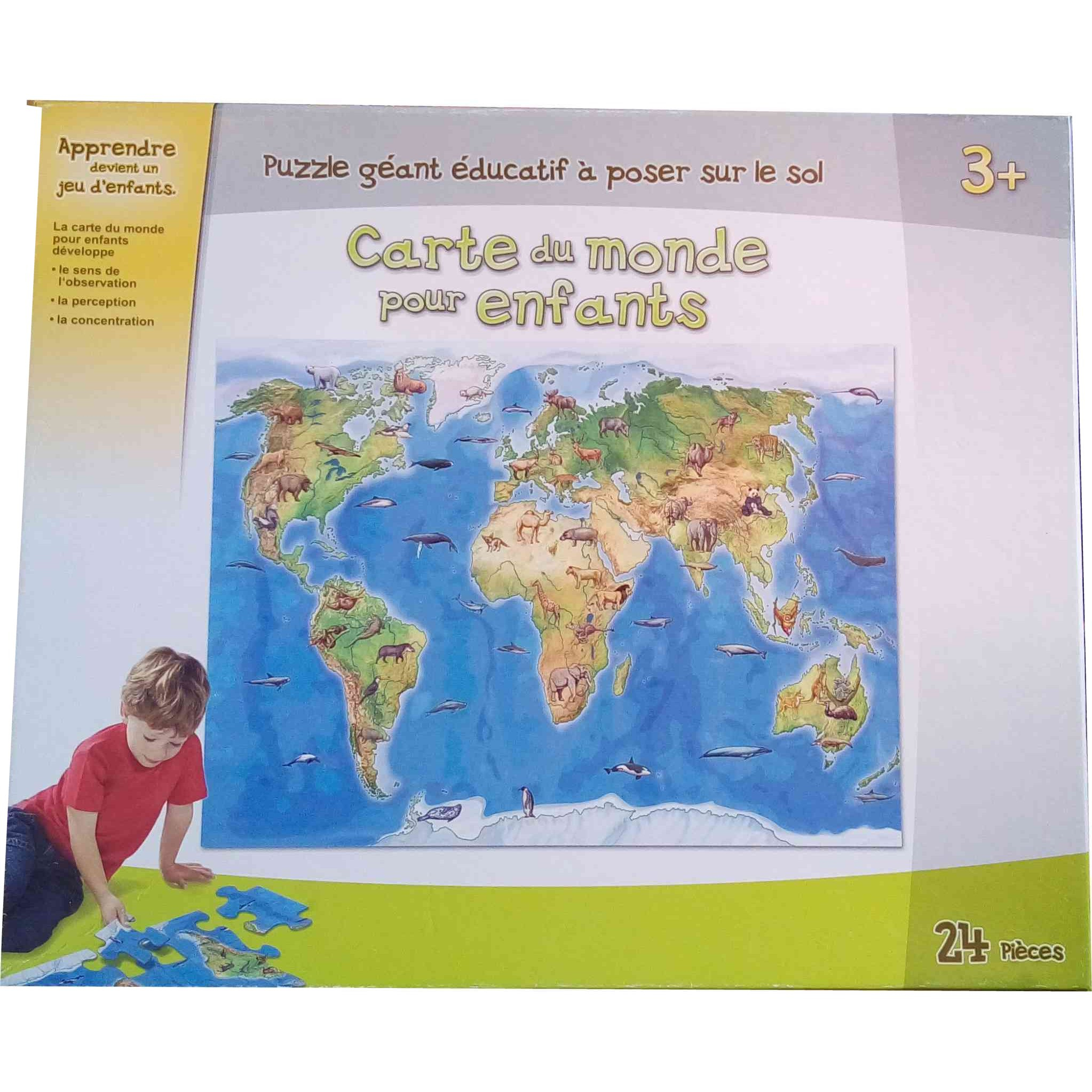 Puzzle Géant 24 Pcs - Carte Du Monde Pour Enfants tout Carte Du Monde Pour Enfant
