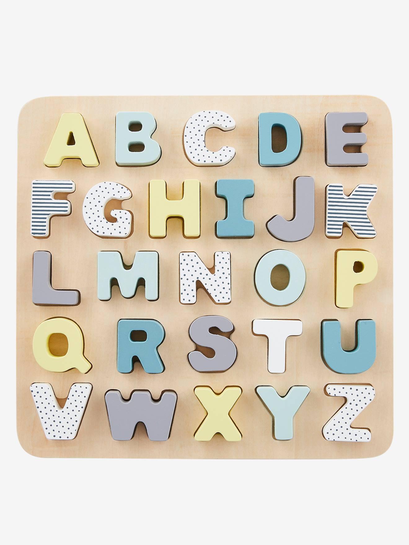 Puzzle Lettres À Encastrer En Bois Multicolore - Vertbaudet destiné Puzzle En Ligne Maternelle
