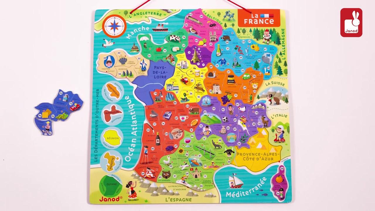 Puzzle Magnétique De La France - Jeu Éducatif - Janod - Lapouleapois.fr intérieur Puzzle Des Départements Français