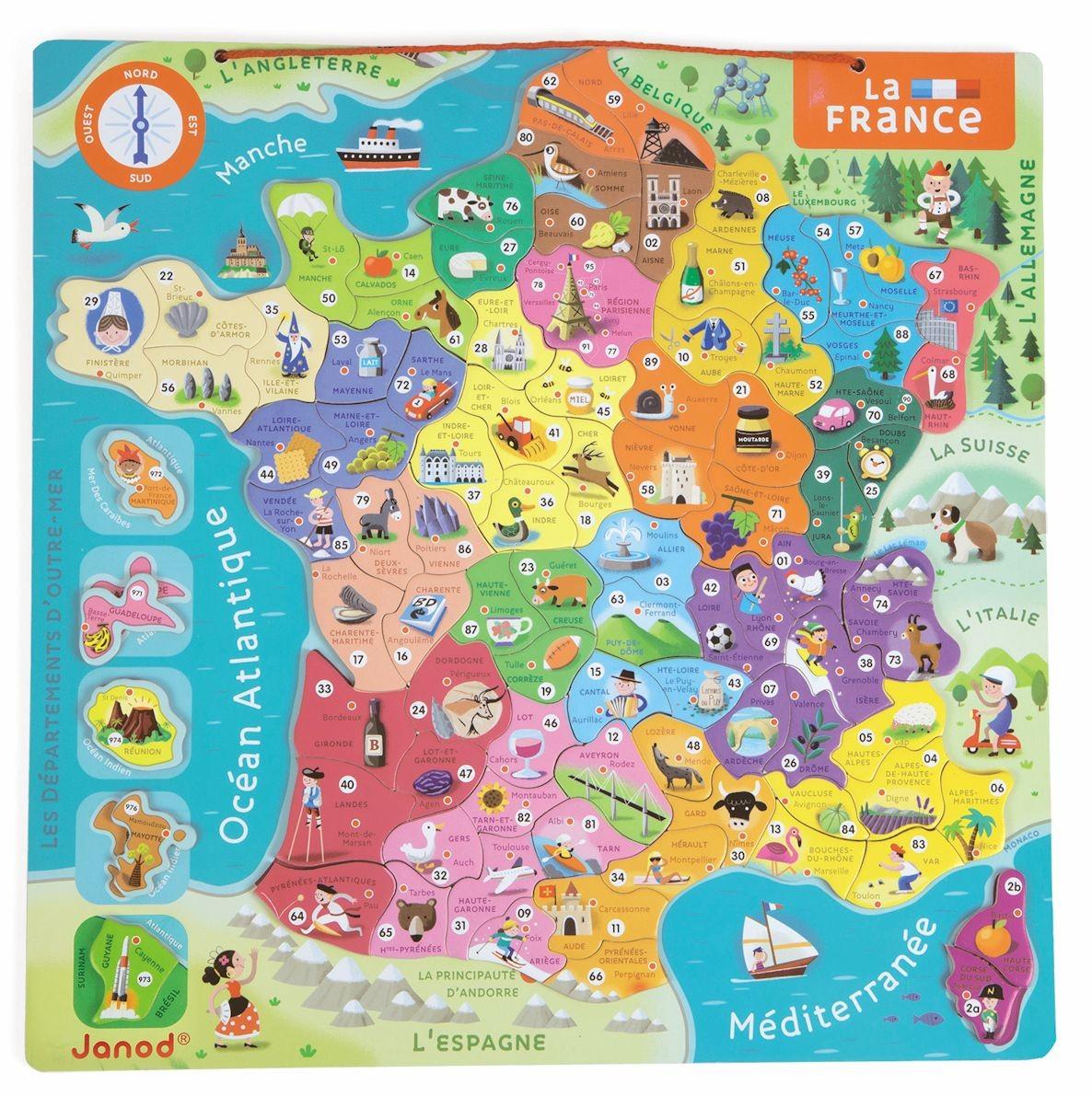 Puzzle Magnétique De La France - Jouet Éducatif Janod à Apprendre Les Départements En S Amusant