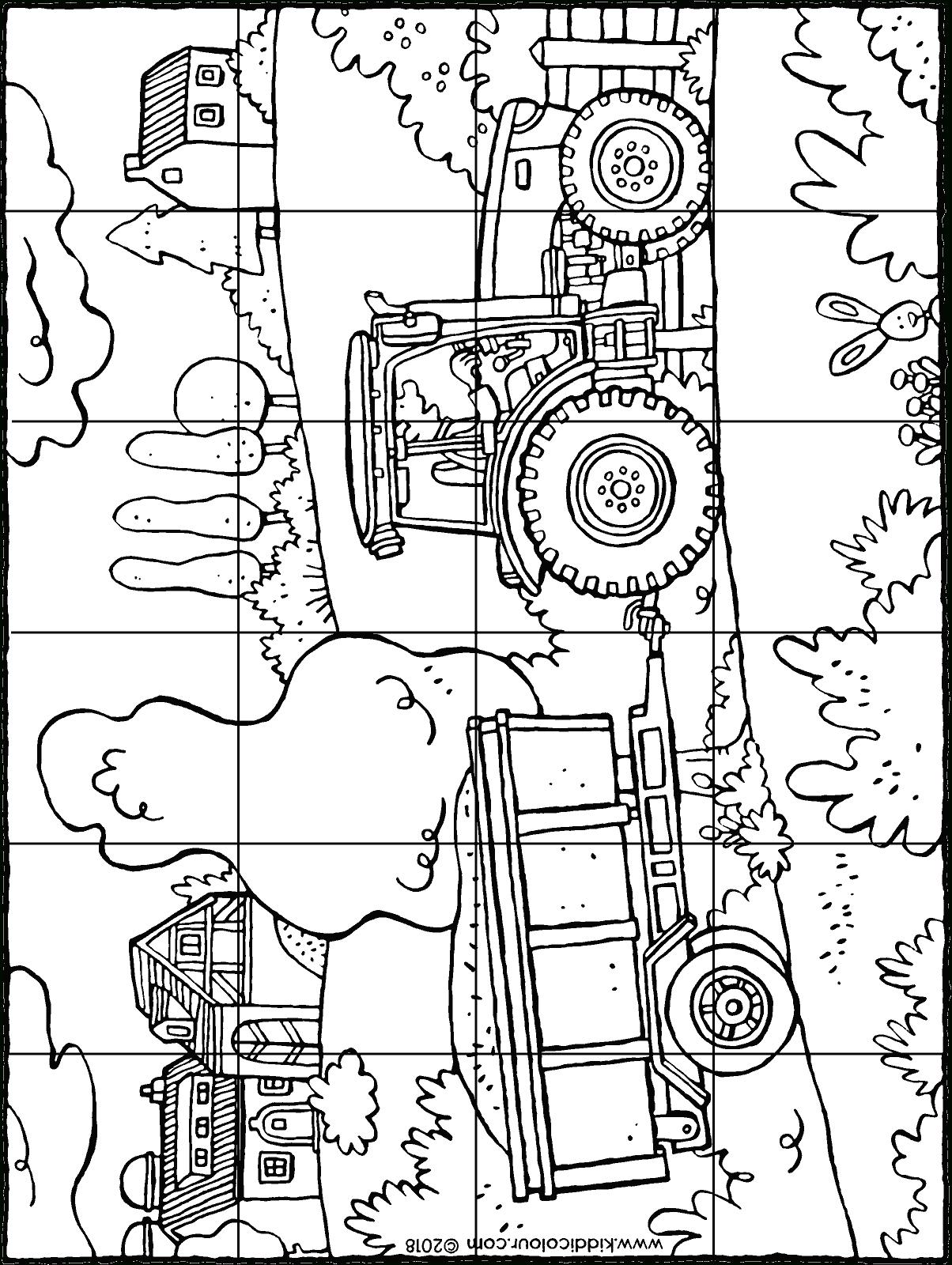 Puzzle Tracteur Avec Charette - Kiddicoloriage intérieur Dessin De Tracteur À Colorier