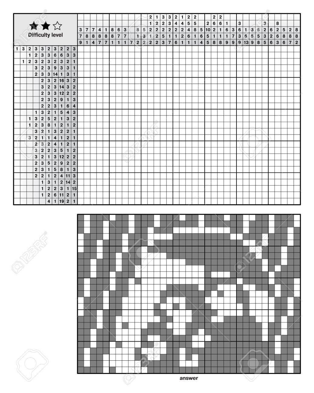 Puzzles De Logique D'image, De Mots Croisés Japonais, Nonogram Pour Les  Novices concernant Mots Croisés Pour Débutants