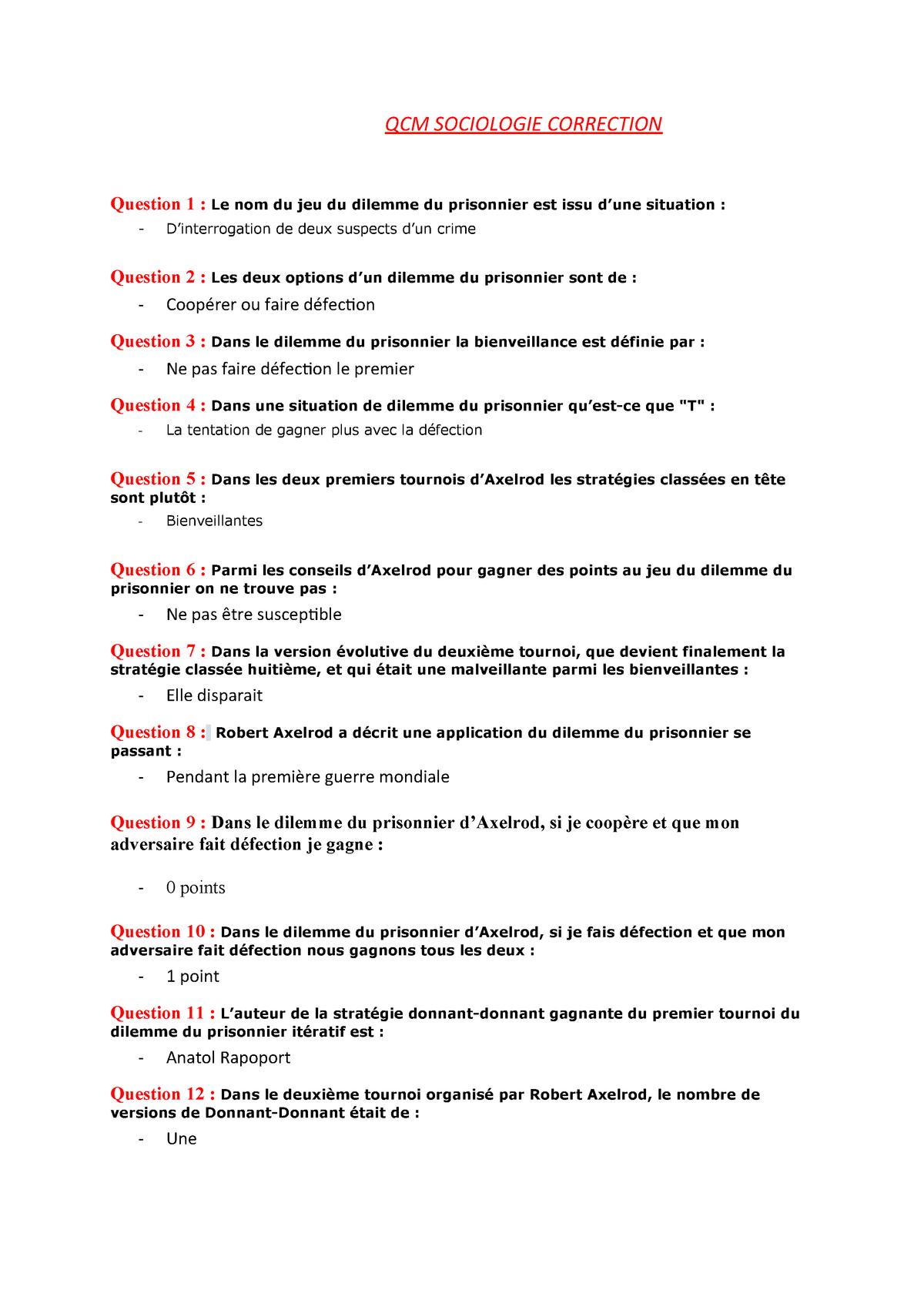 Qcm N°1 - D. Prisonnier - - Studocu pour Jeux Avec Des Questions