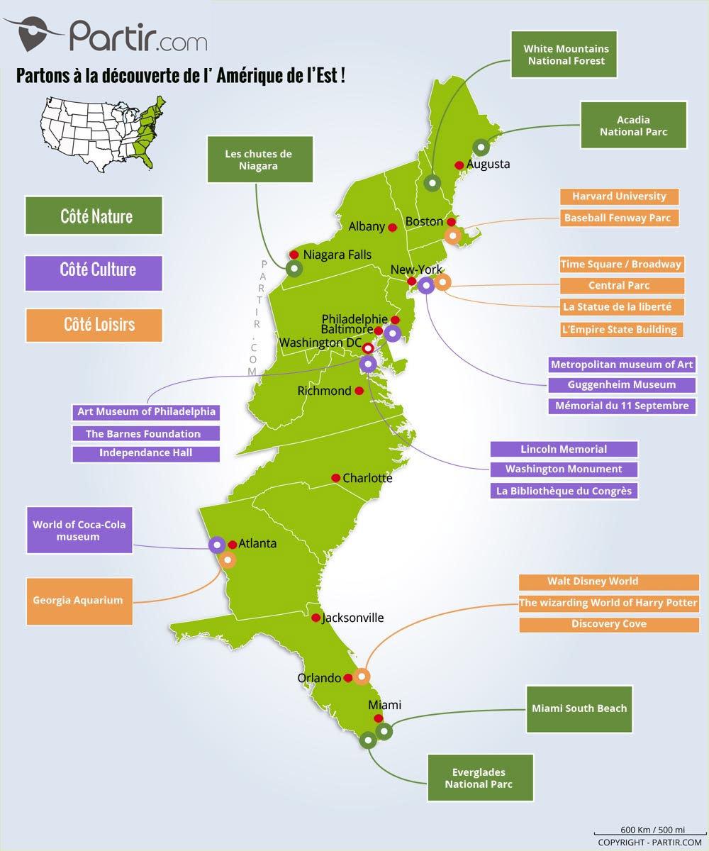 Que Voir Sur La Côte Est Des États-Unis : Cartes avec Carte Etat Amerique