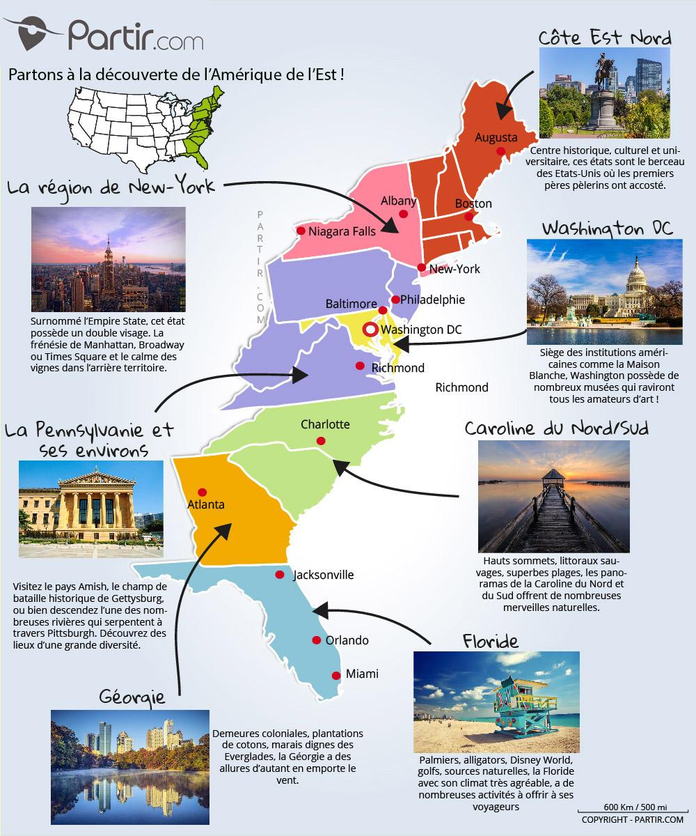 Que Voir Sur La Côte Est Des États-Unis : Cartes concernant Carte Des Etats Unis À Imprimer