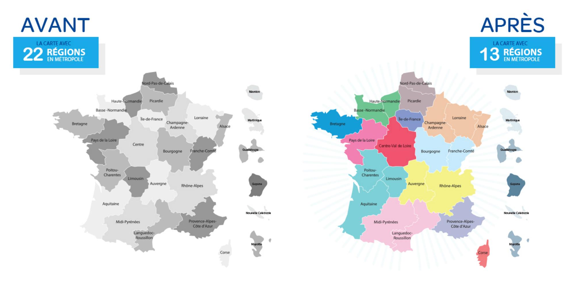 Quels Noms Pour Les Nouvelles Régions Françaises intérieur Carte Des 13 Nouvelles Régions De France