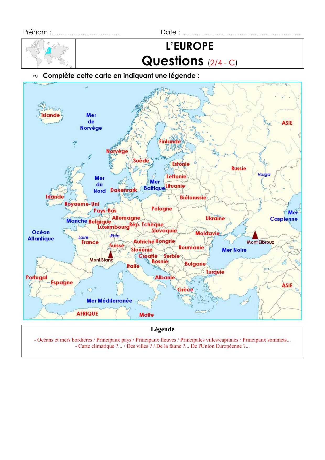 Questions L'europe ( intérieur Carte Europe Capitales Et Pays
