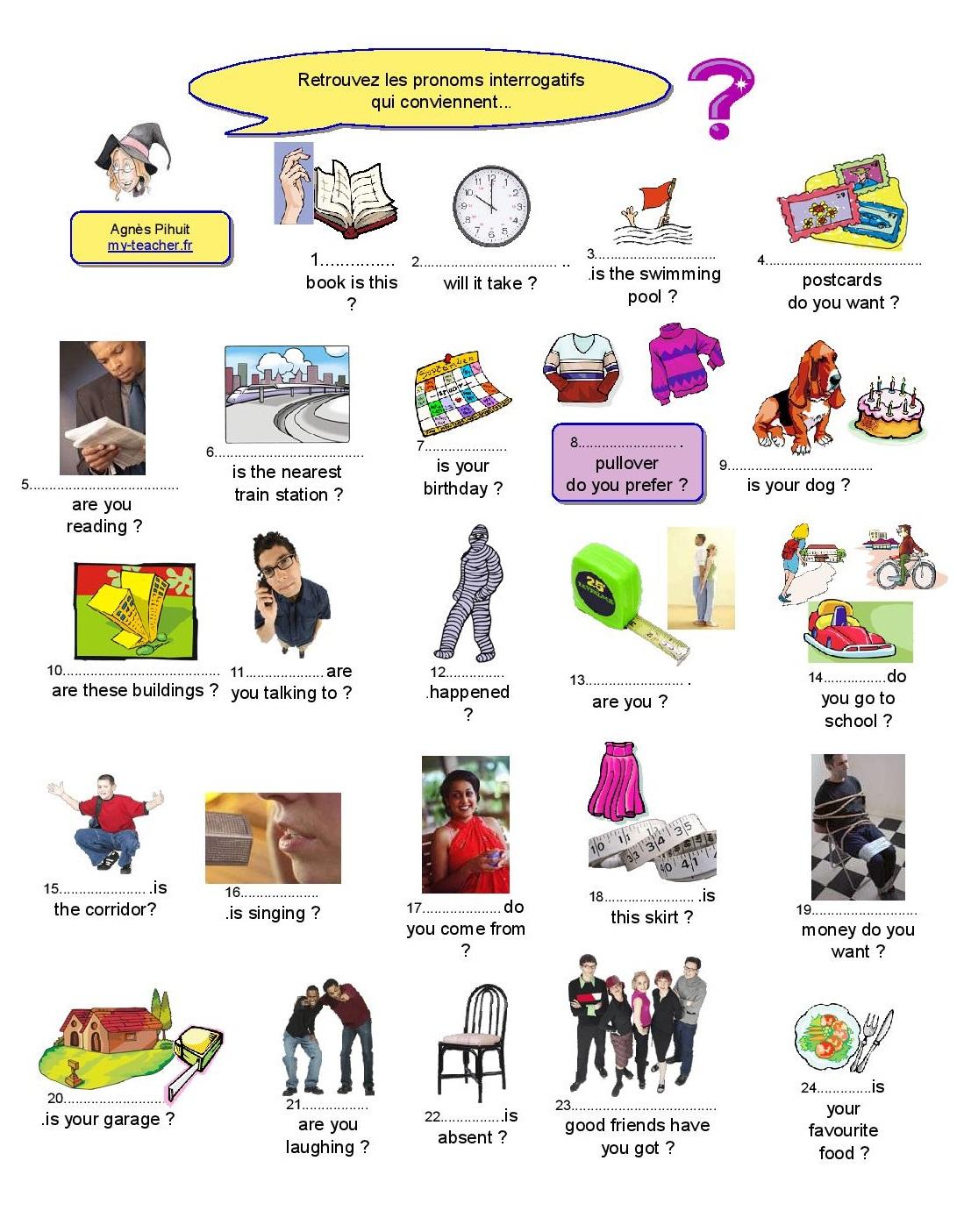 Questions Ouvertes : Wh- Questions – My-Teacher.fr encequiconcerne Jeu En Anglais À Imprimer