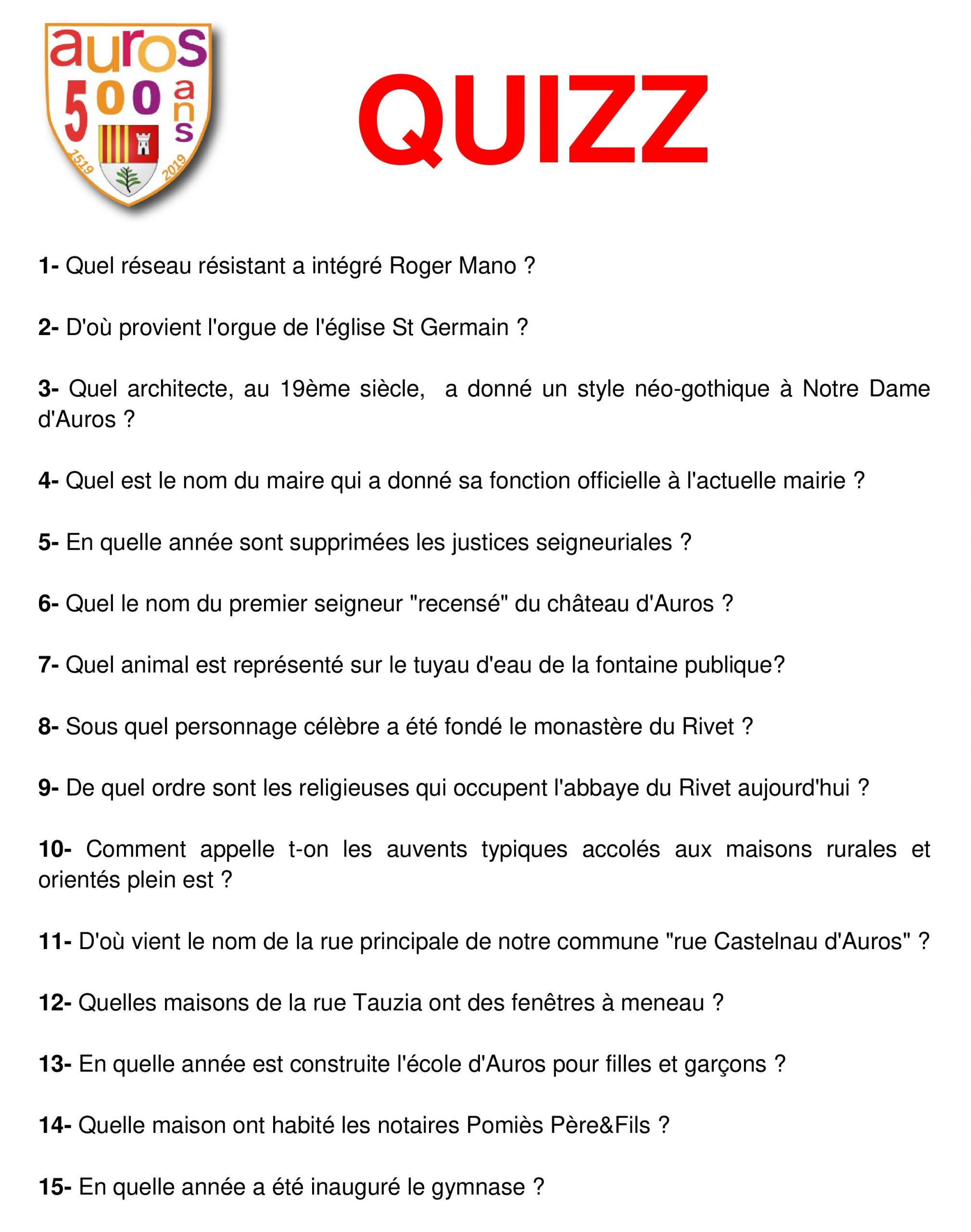 Questions Quizz | Mairie D'auros avec Quizz Pour Maternelle