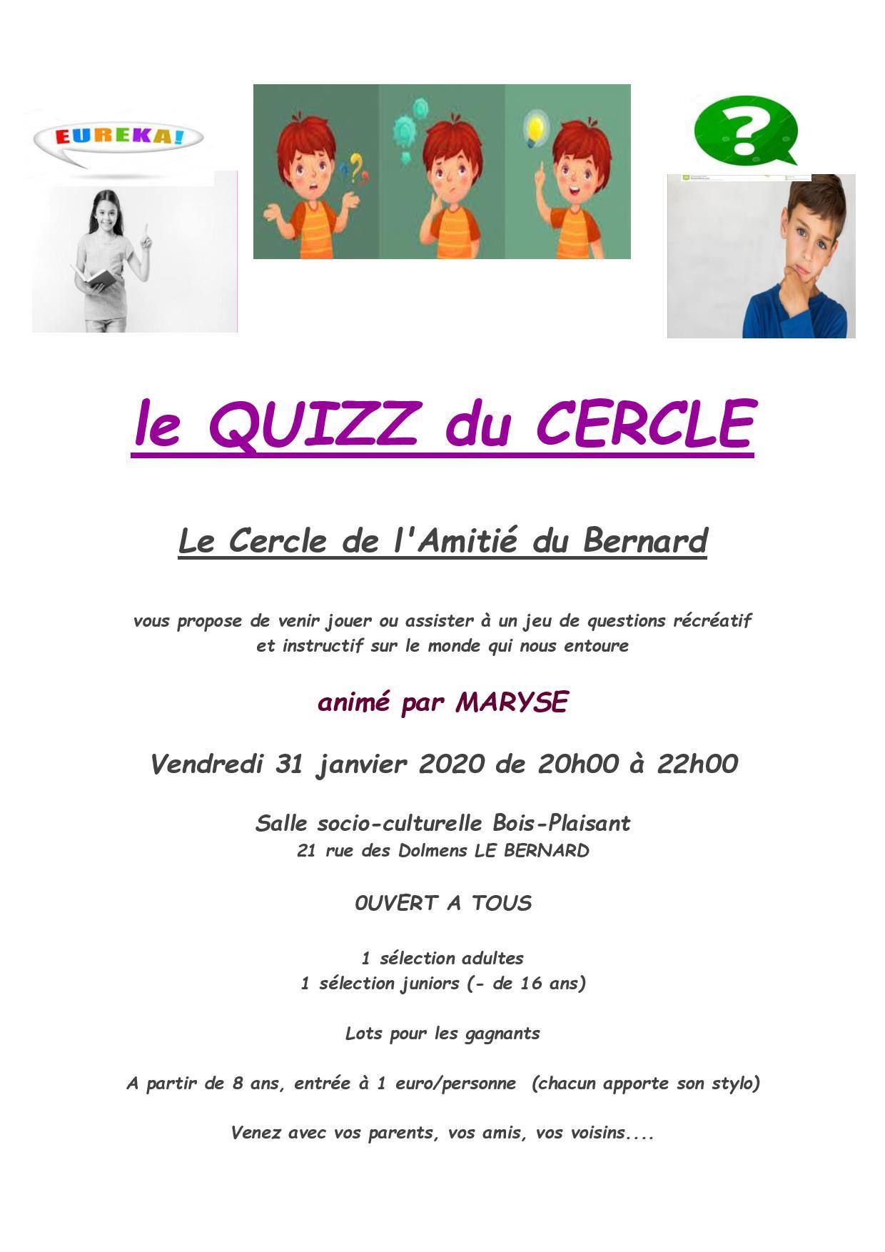 Quizz Du Cercle De L'amitié – Ouvert À Tous ! | Site De La serapportantà Quizz Pour Maternelle