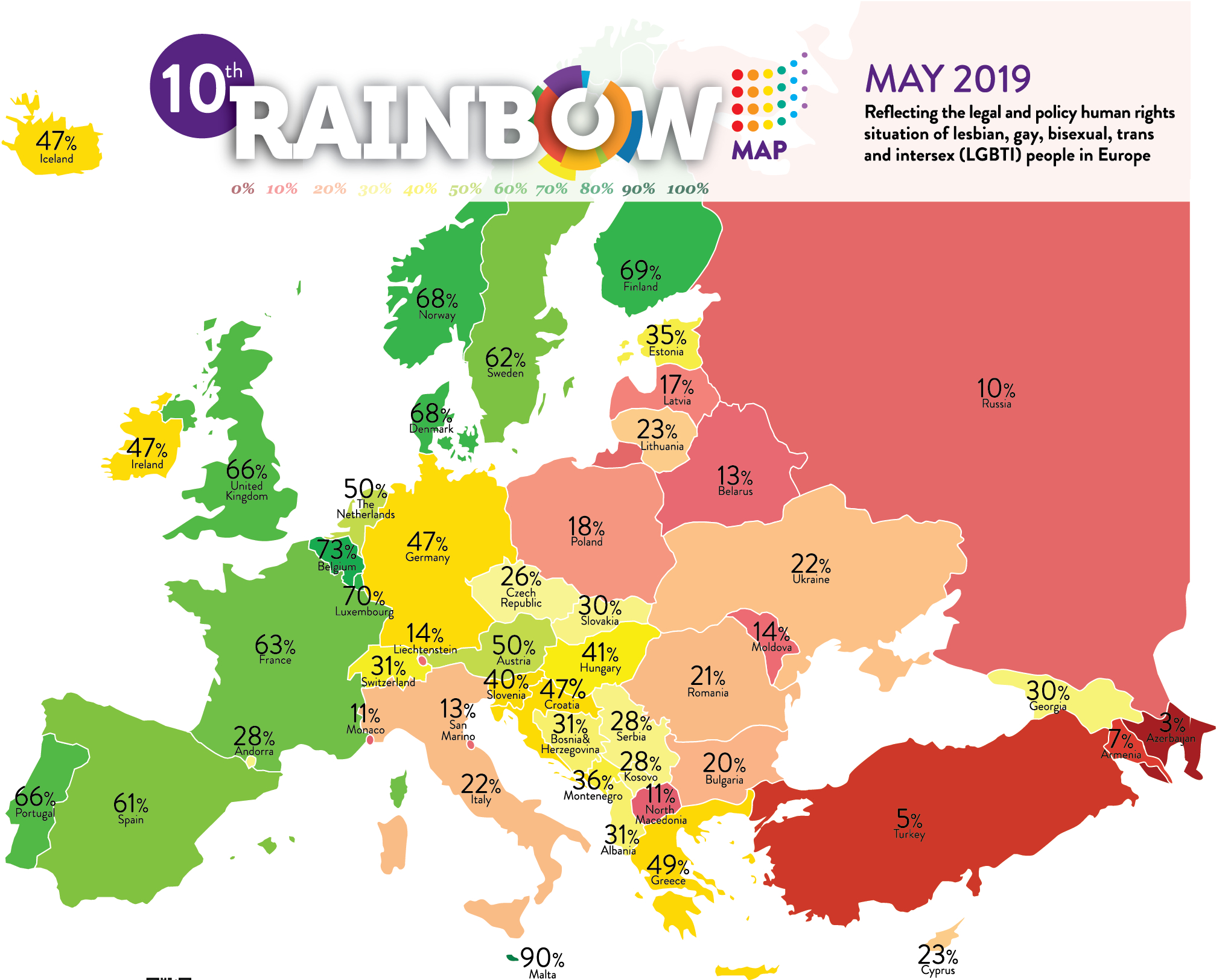 Rainbow Europe 2019 | Ilga-Europe pour Carte De L Europe 2017