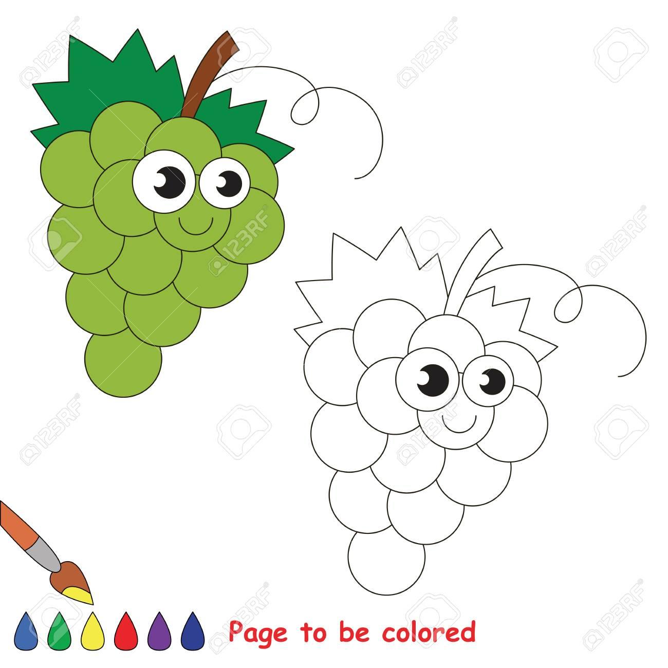 Raisins Blancs À Colorer. Livre À Colorier Pour Éduquer Les Enfants.  Apprendre Les Couleurs Jeu Éducatif Visuel. Jeu Facile Pour Les Enfants Et destiné Jeux Pour Apprendre Les Couleurs