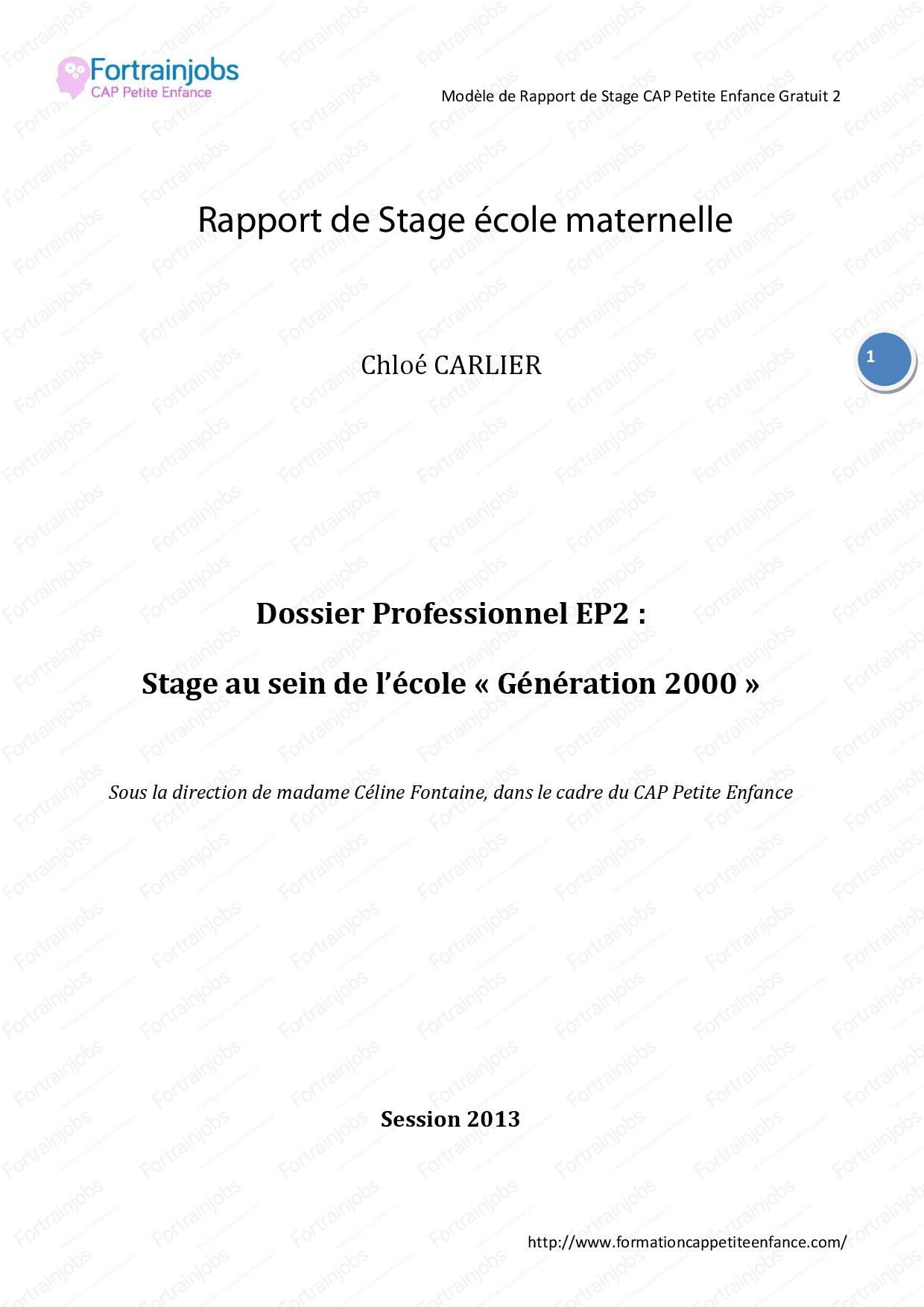 Rapport De Stage École Maternelle - Docsity encequiconcerne Exercice Maternelle Petite Section