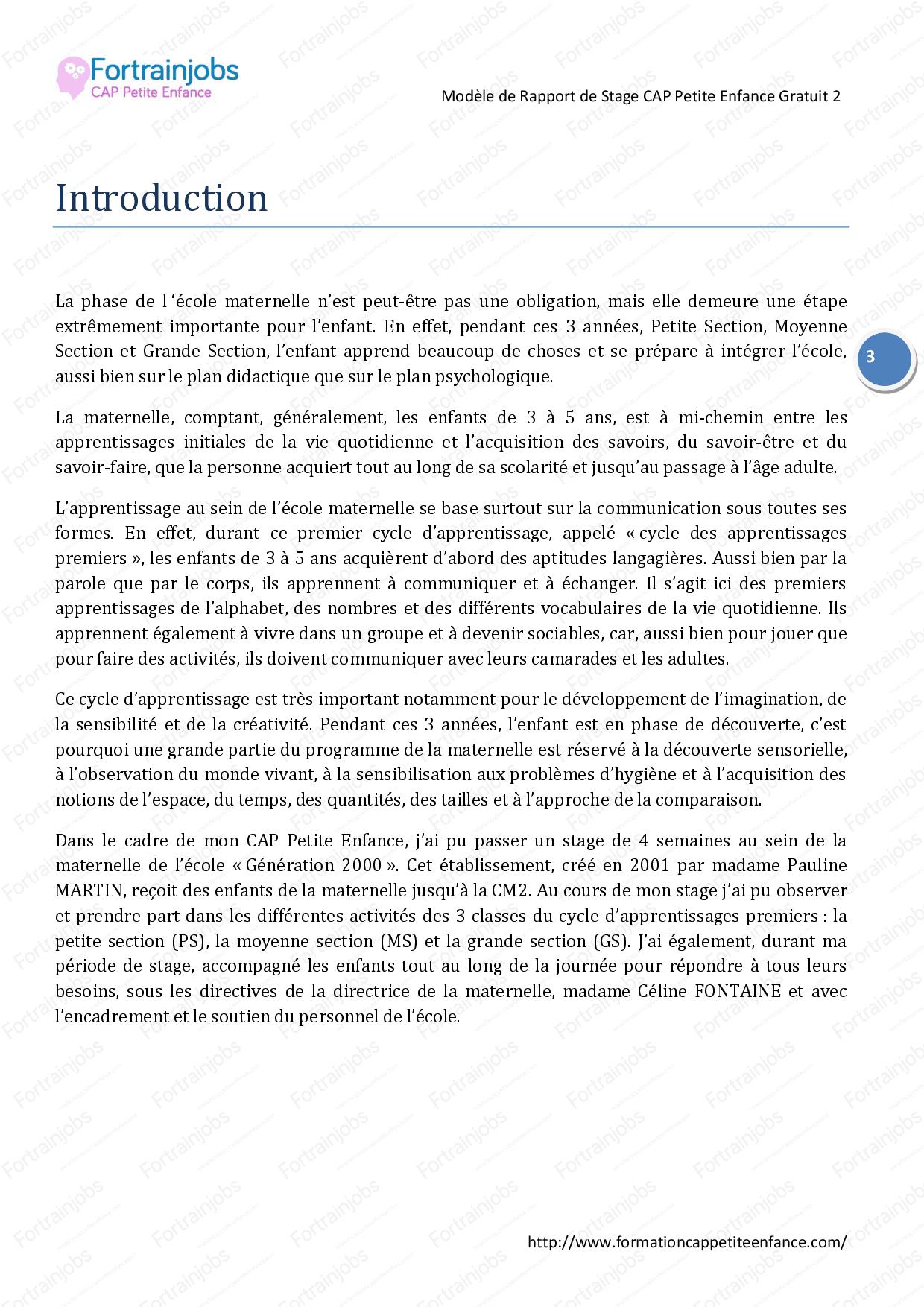 Rapport De Stage École Maternelle - Docsity intérieur Programme Grande Section Maternelle Gratuit