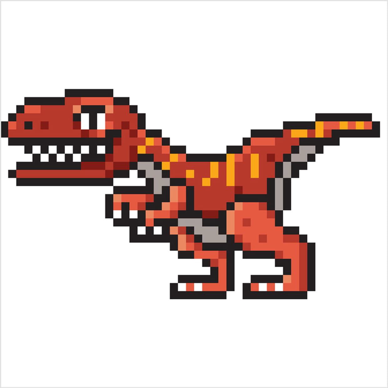 Raptor, Dinosaure En Pixel Art intérieur Modele Dessin Pixel