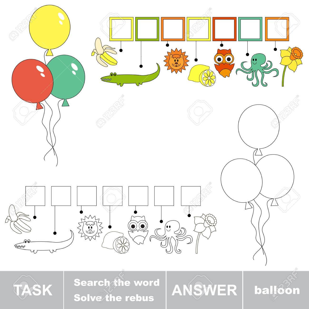 Rebus Jeu D'enfant. Rechercher Le Mot Ballon. Trouver Mot Caché. Tâche Et  La Réponse. Jeu Pour Les Enfants. dedans Rébus À Imprimer