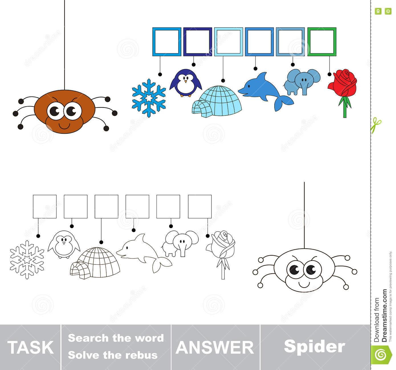 Recherchez L'araignée De Mot Illustration De Vecteur à Rébus Facile
