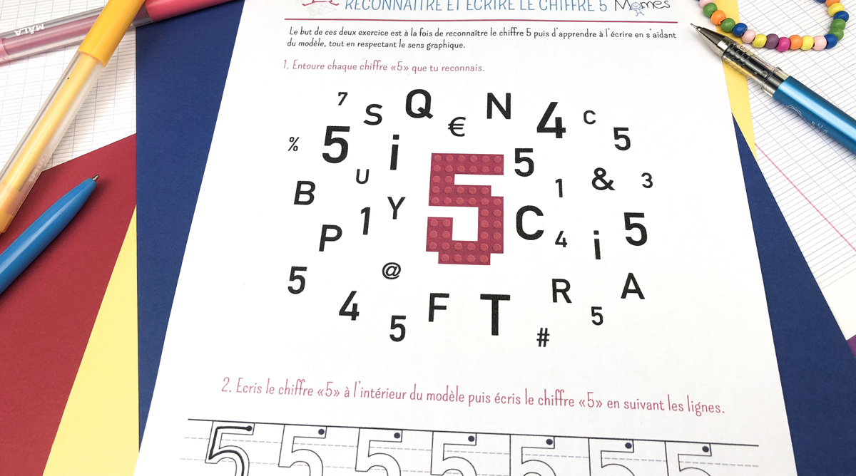Reconnaître Et Écrire Le Chiffre 5 - Momes concernant Apprendre À Écrire Les Chiffres En Maternelle