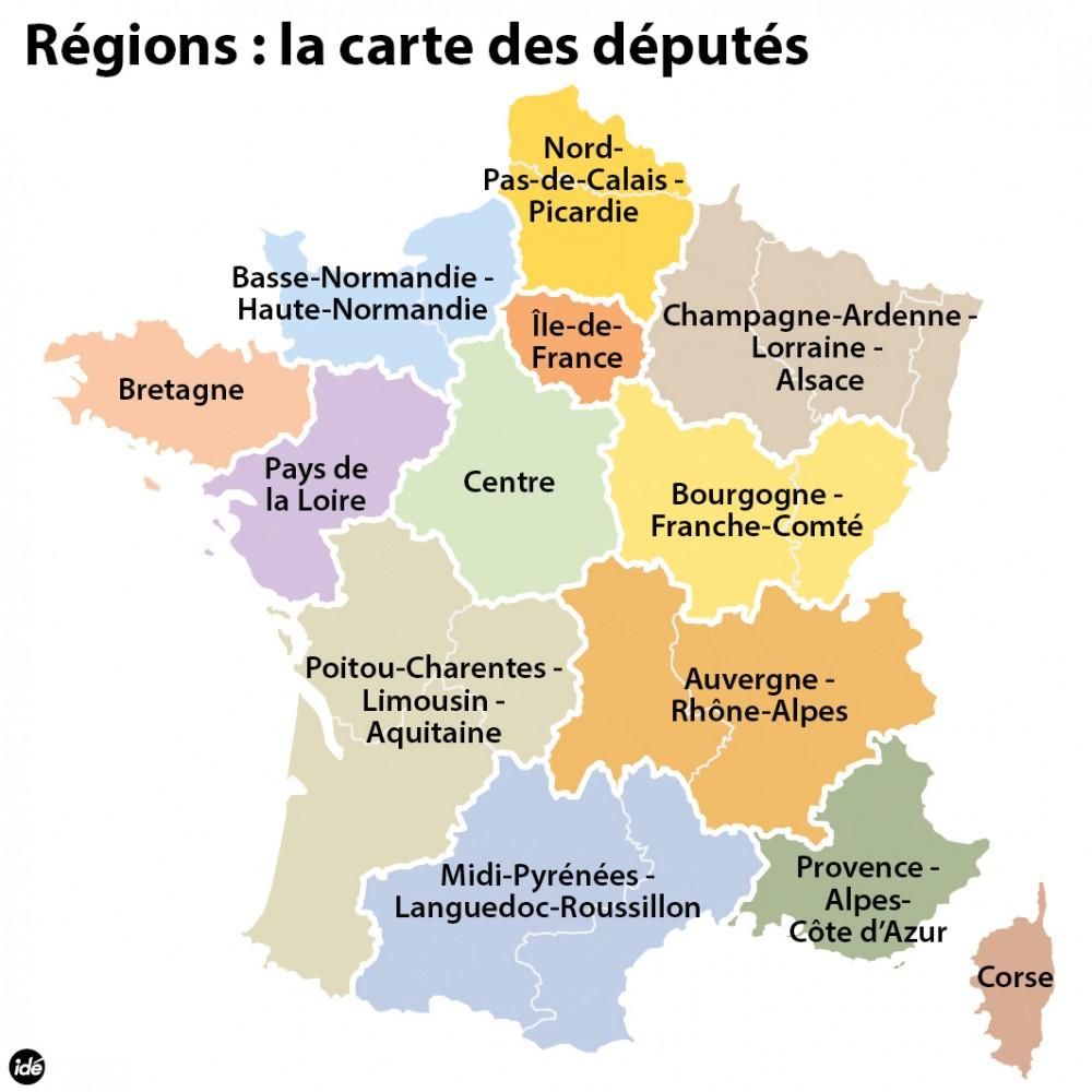 Réforme Territoriale : La Carte Des 13 Régions concernant Carte Nouvelles Régions De France