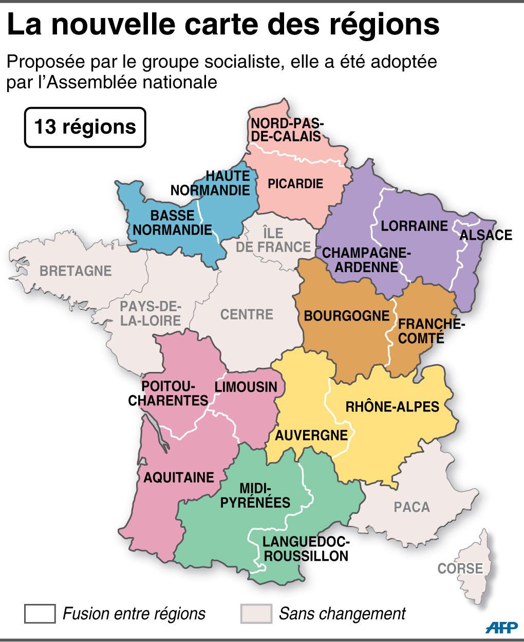 Réforme Territoriale : L'assemblée Adopte La Nouvelle Carte destiné Carte Des 13 Régions