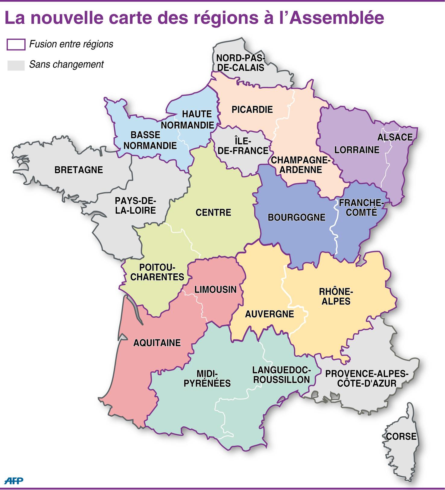 Réforme Territoriale : Les Députés Cherchent Le Consensus avec Carte Nouvelles Régions De France