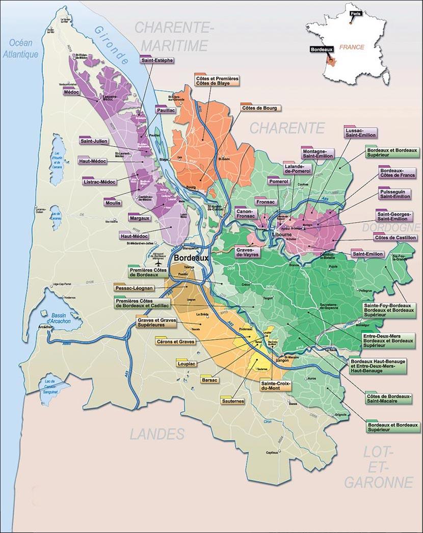 Region Bordeaux Map France Appelation serapportantà Carte De Region France