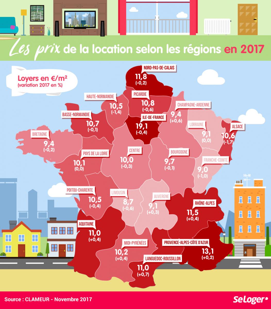Région Par Région, Les Prix Des Loyers En 2017 destiné Carte Des Départements De France 2017