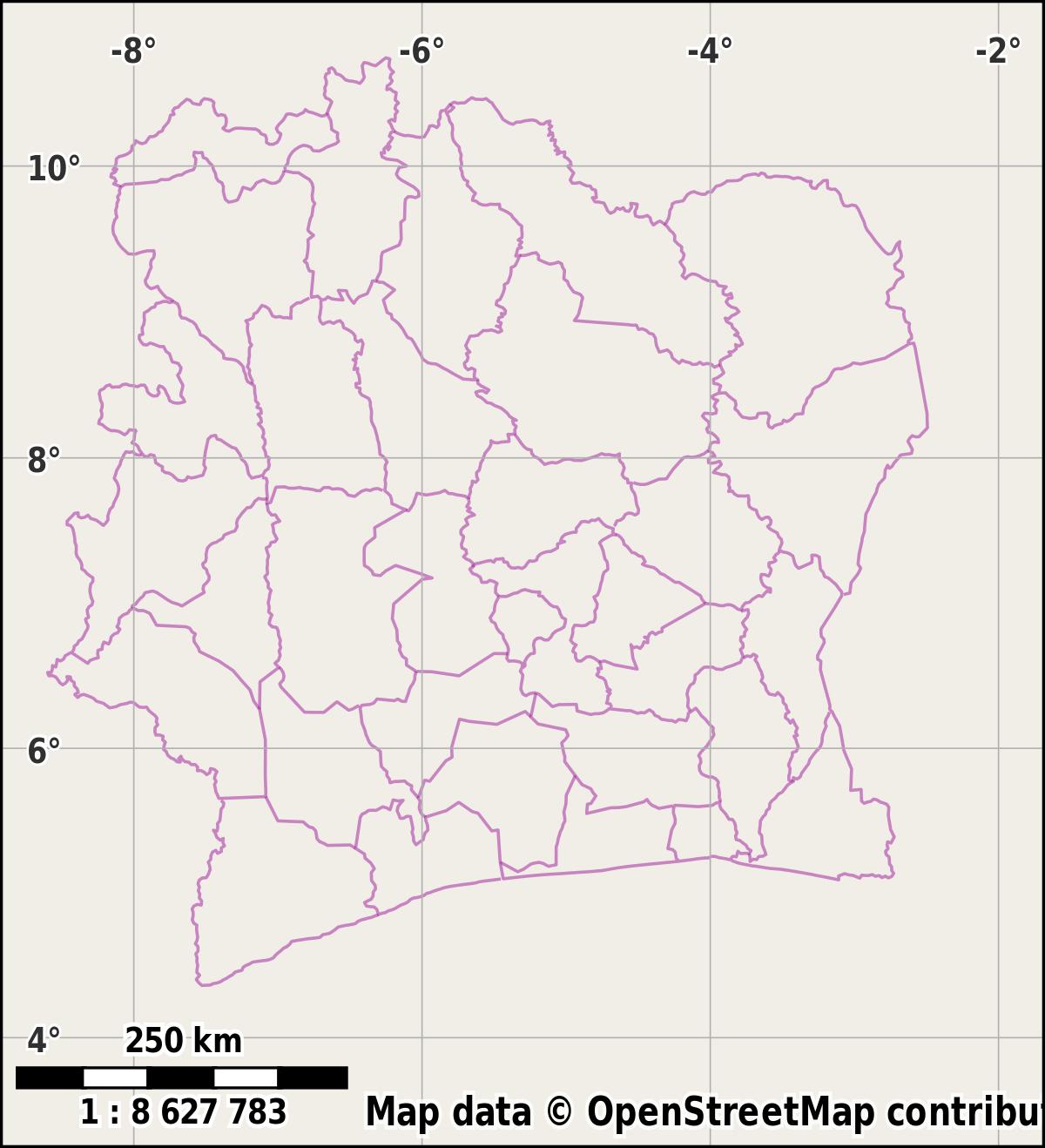 Régions De Côte D'ivoire — Wikipédia intérieur Carte De France Vierge Nouvelles Régions