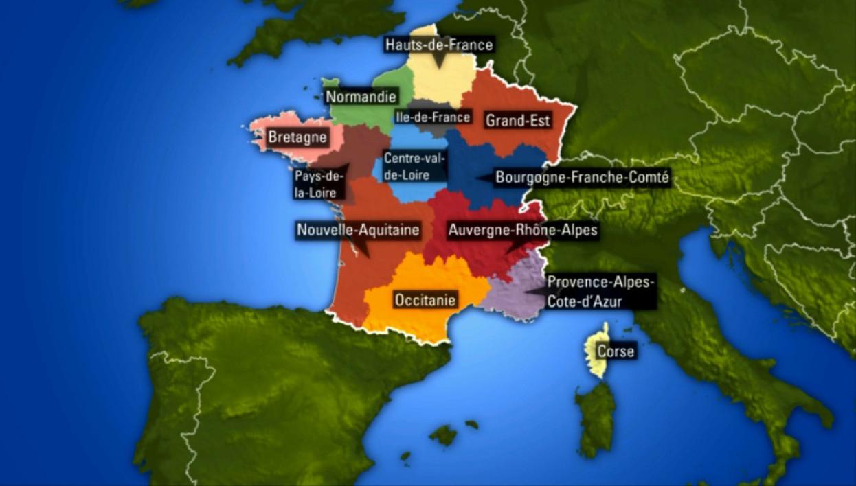 Régions Françaises: La Carte Des Nouveaux Noms serapportantà Les 13 Régions