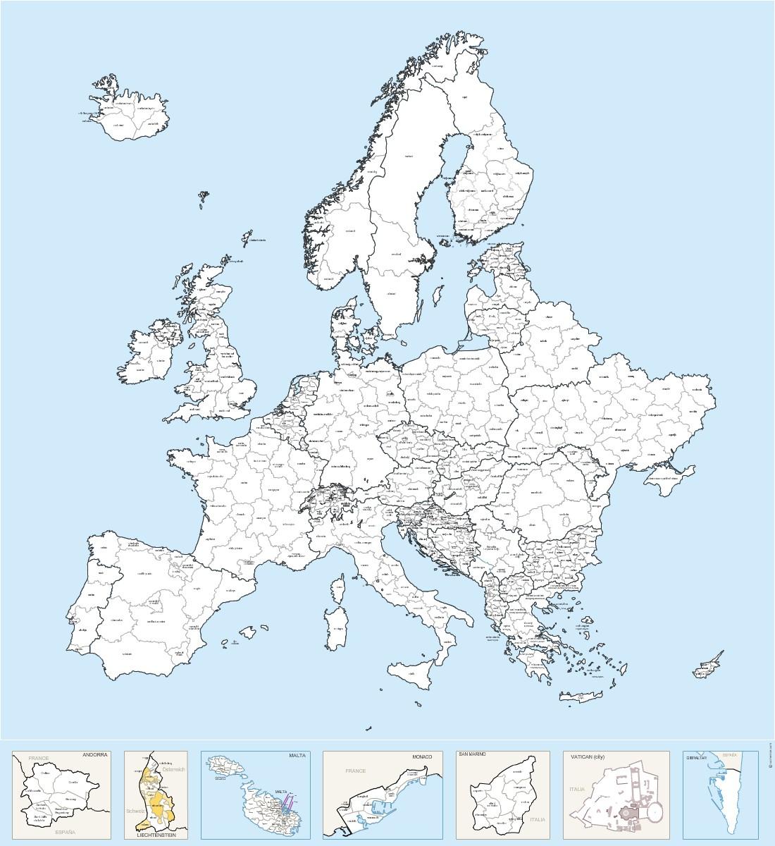 Régions Nommées D'europe - Carte Vectorielle intérieur Carte Europe Avec Capitale