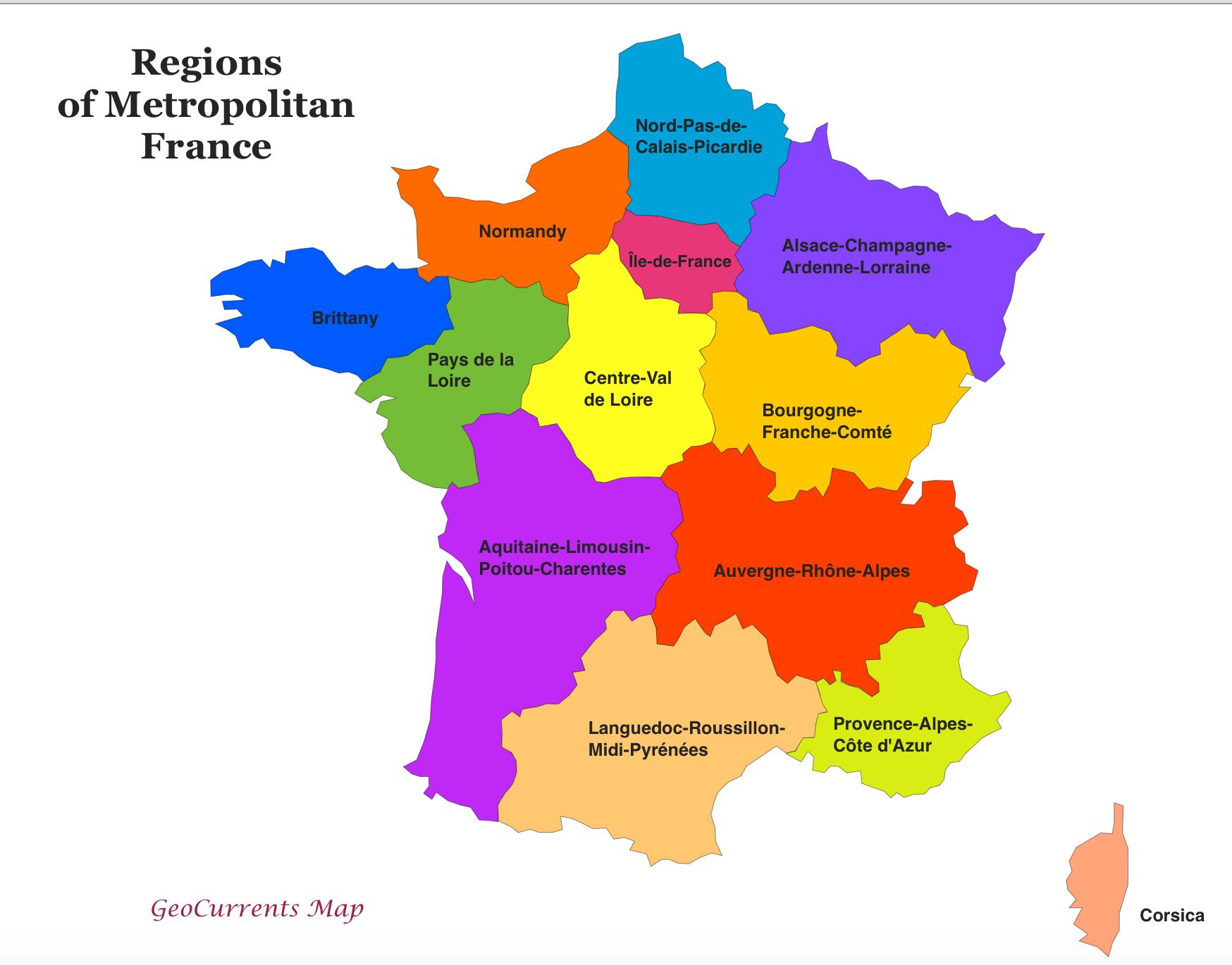Regions-Of-France-Map | Assembly Of European Regions encequiconcerne Liste Region De France