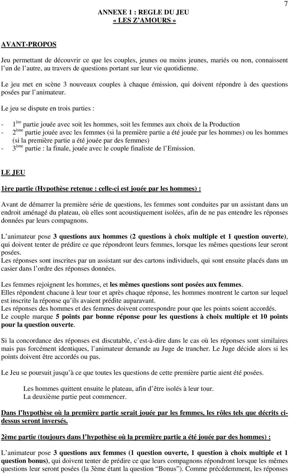 Règlement Du Jeu Télévisé: Les Z Amours - Pdf Free Download dedans Jeux Avec Des Questions
