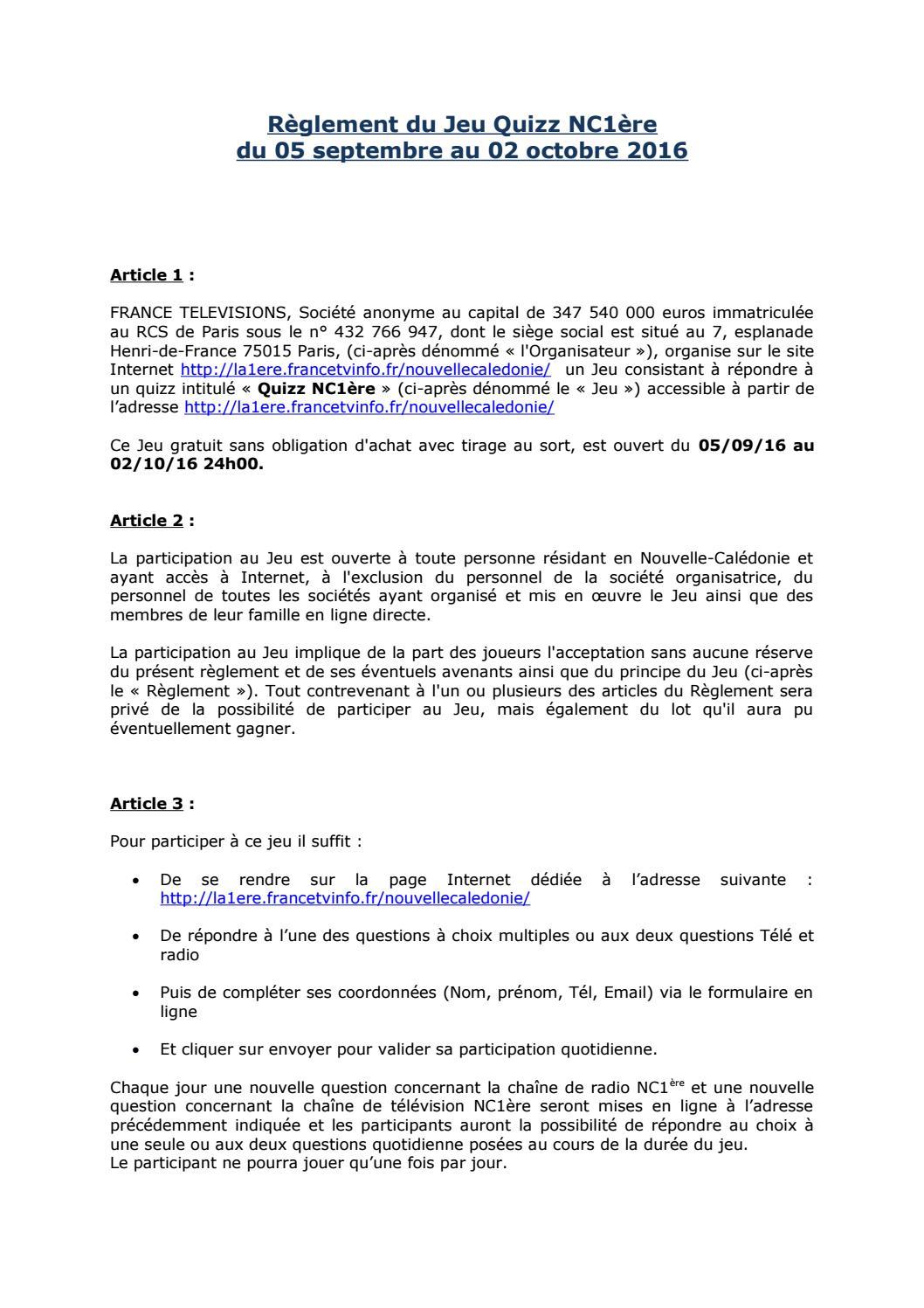 Réglement Jeu Quizz Nc1Ère (2) By Nc La 1Ère - Issuu à Jeux Avec Des Questions