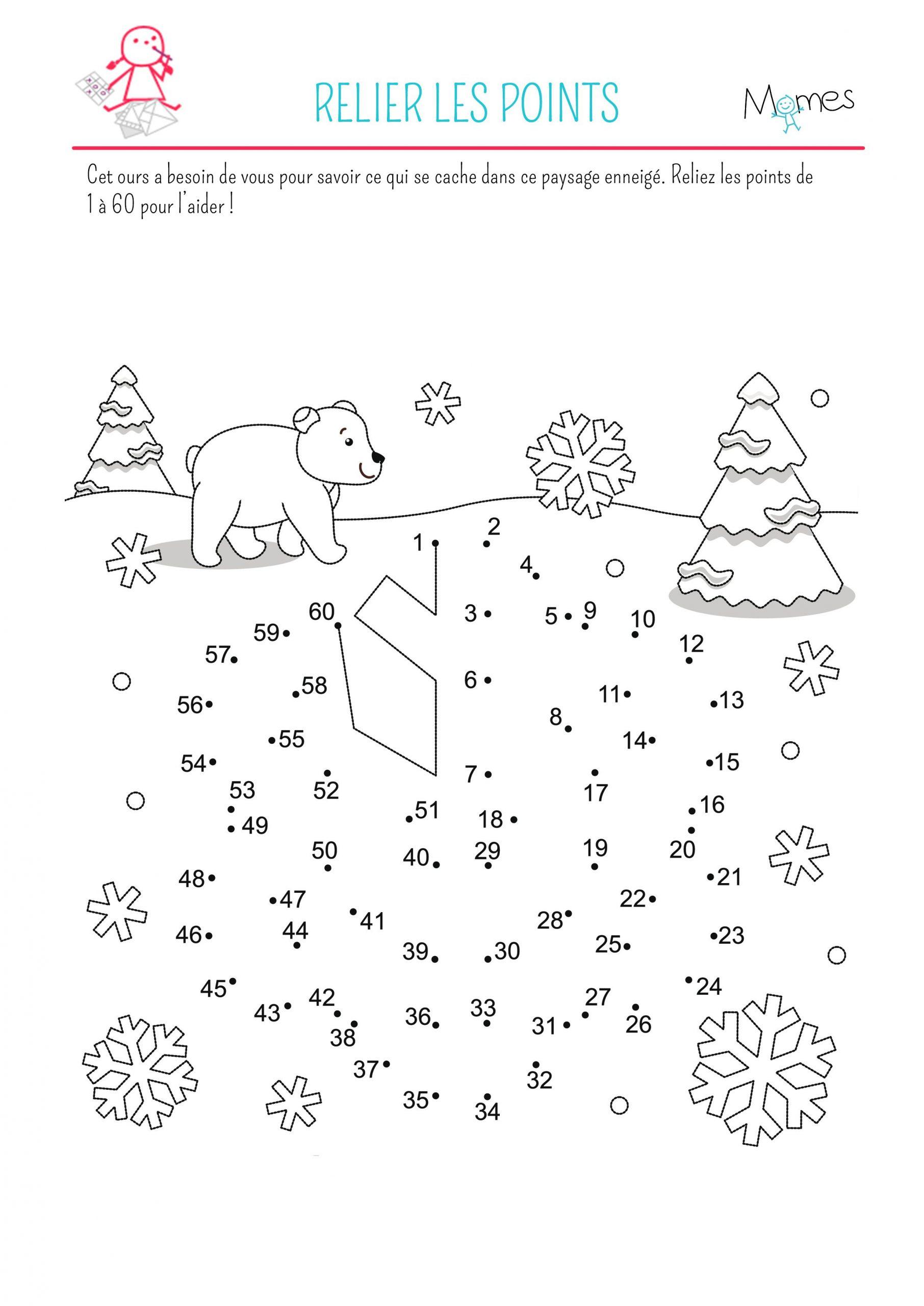Relier Les Points : La Neige | Points À Relier Noël, Points encequiconcerne Relier Les Points De 1 À 30