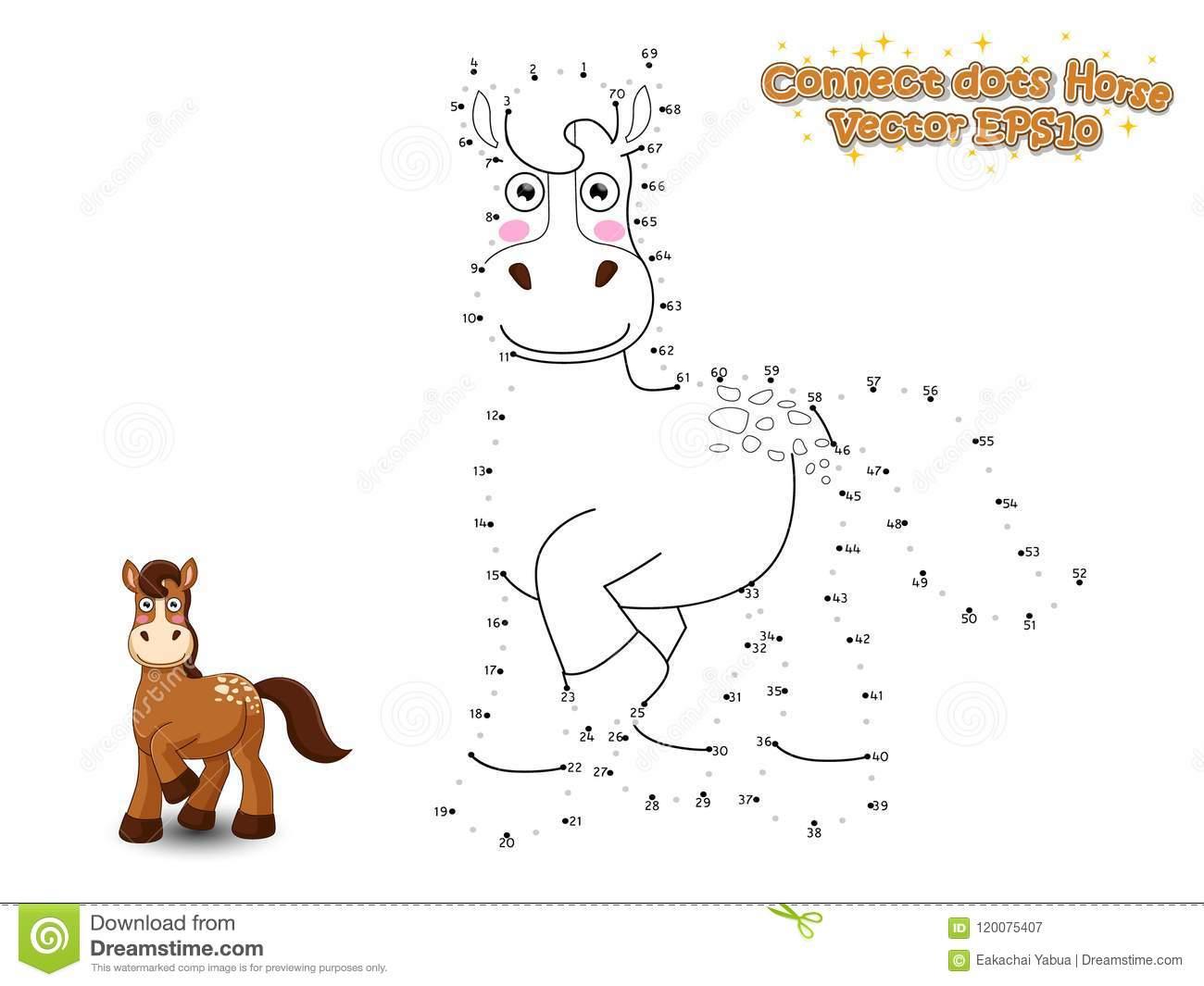 Reliez Les Points Et Dessinez Le Cheval Mignon De Bande dedans Relier Les Points De 1 À 30