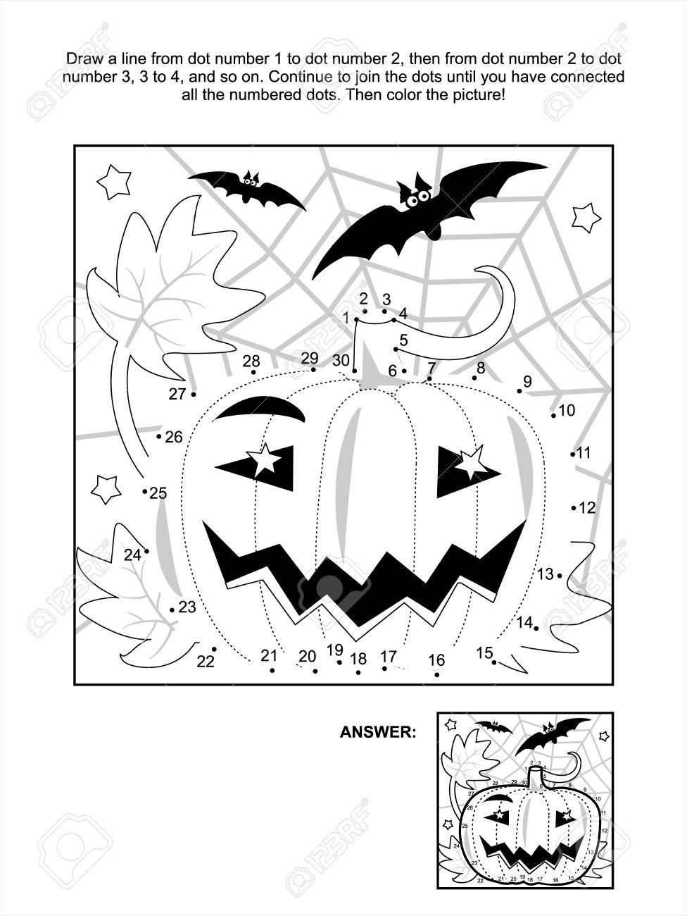 Reliez Les Points Image Puzzle Et Coloriage - Halloween Scène De Nuit À La  Citrouille, Chauve-Souris Et Toile D'araignée. Répondez Inclus. concernant Relier Les Points De 1 À 30