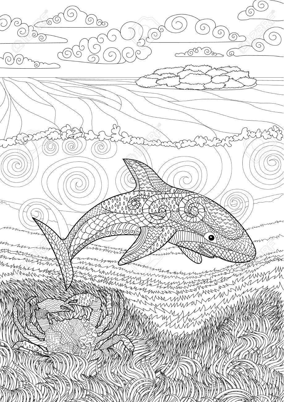 Requin Heureux Avec Des Détails Élevés. Adulte Coloriages Antistress. Main  Blanche Noire Dessinée Doodle Animale Océanique Pour L'art Thérapie. destiné Coloriage Requin Blanc Imprimer