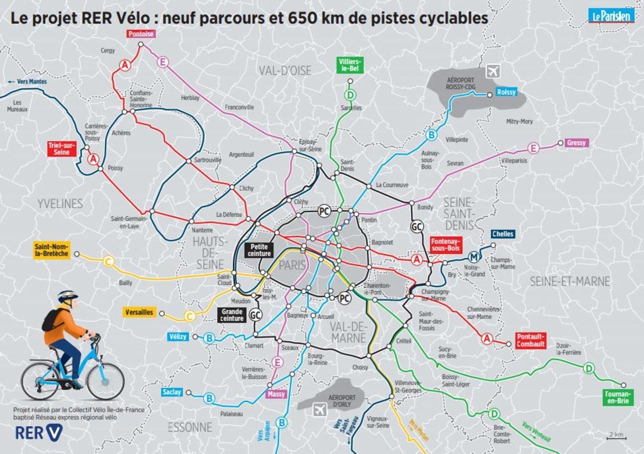 Rer Vélo» En Ile-De-France : La Carte Du Projet À Imprimer avec Carte De France Departement À Imprimer